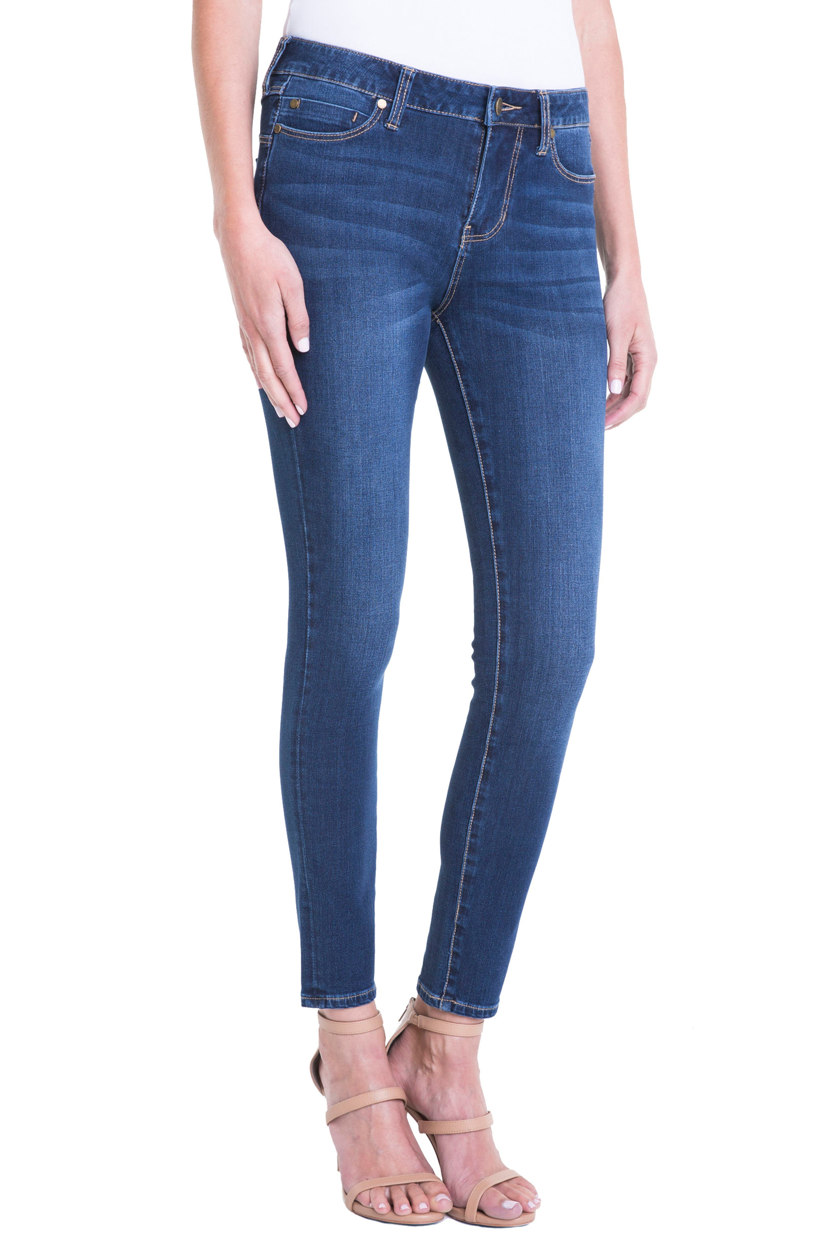 Abby Mid Rise Soft Stretch Skinny Jeans,                             Alternate thumbnail 3, color,                             DOHENY DARK