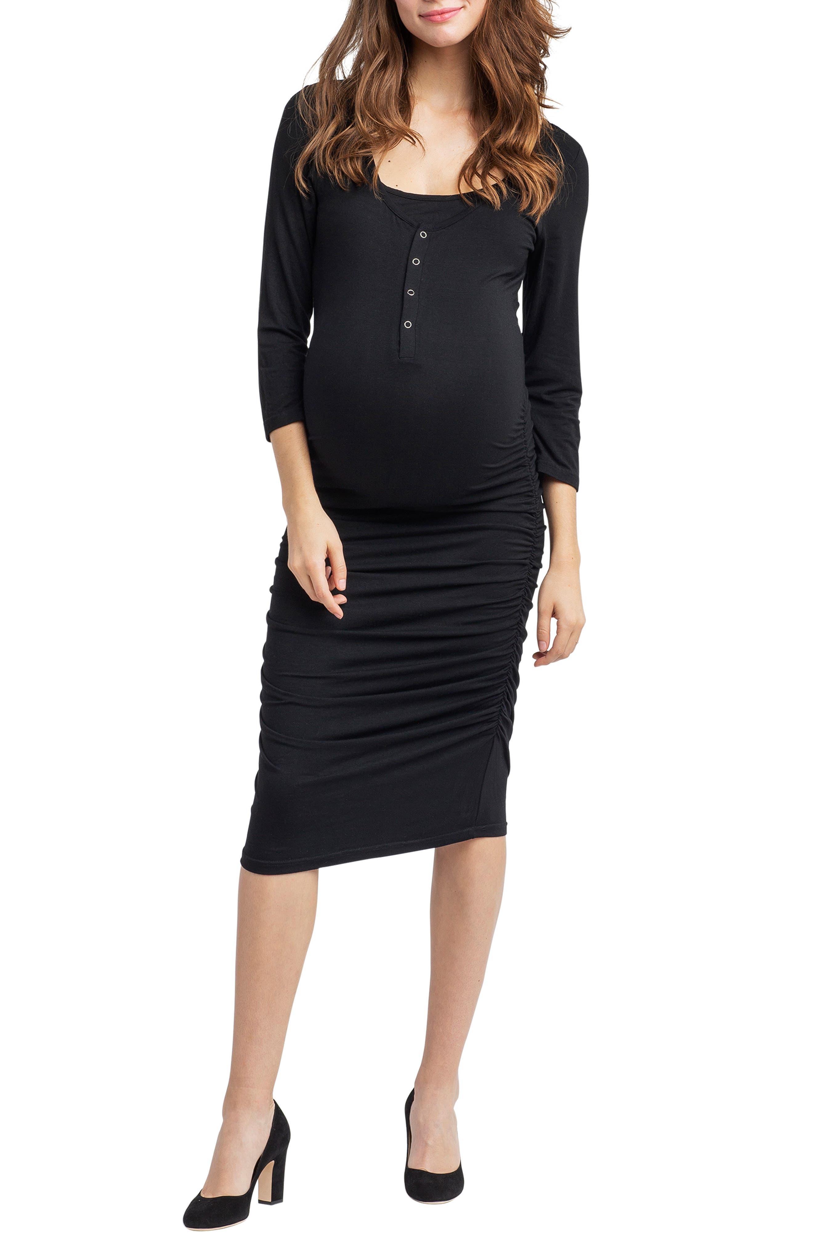 Nom Henley Maternity Dress,                             Main thumbnail 1, color,                             BLACK