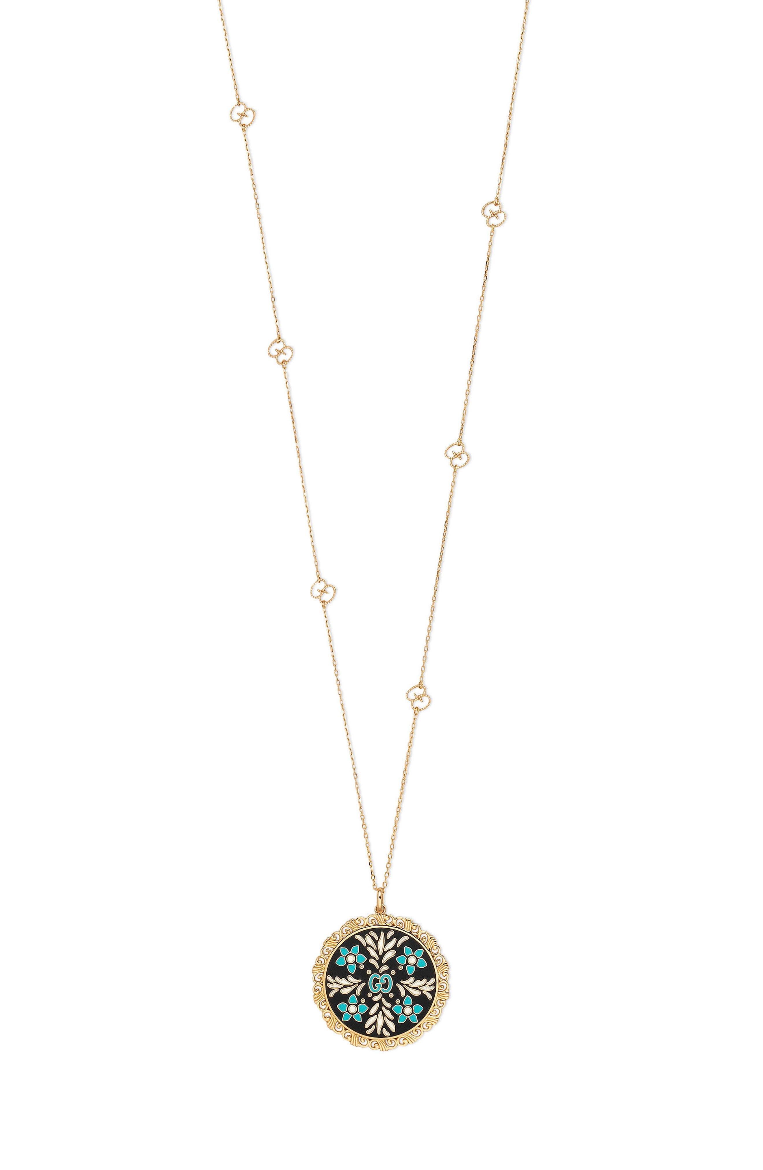 Icon Blooms Enamel Pendant Necklace,                             Main thumbnail 1, color,                             YELLOW GOLD