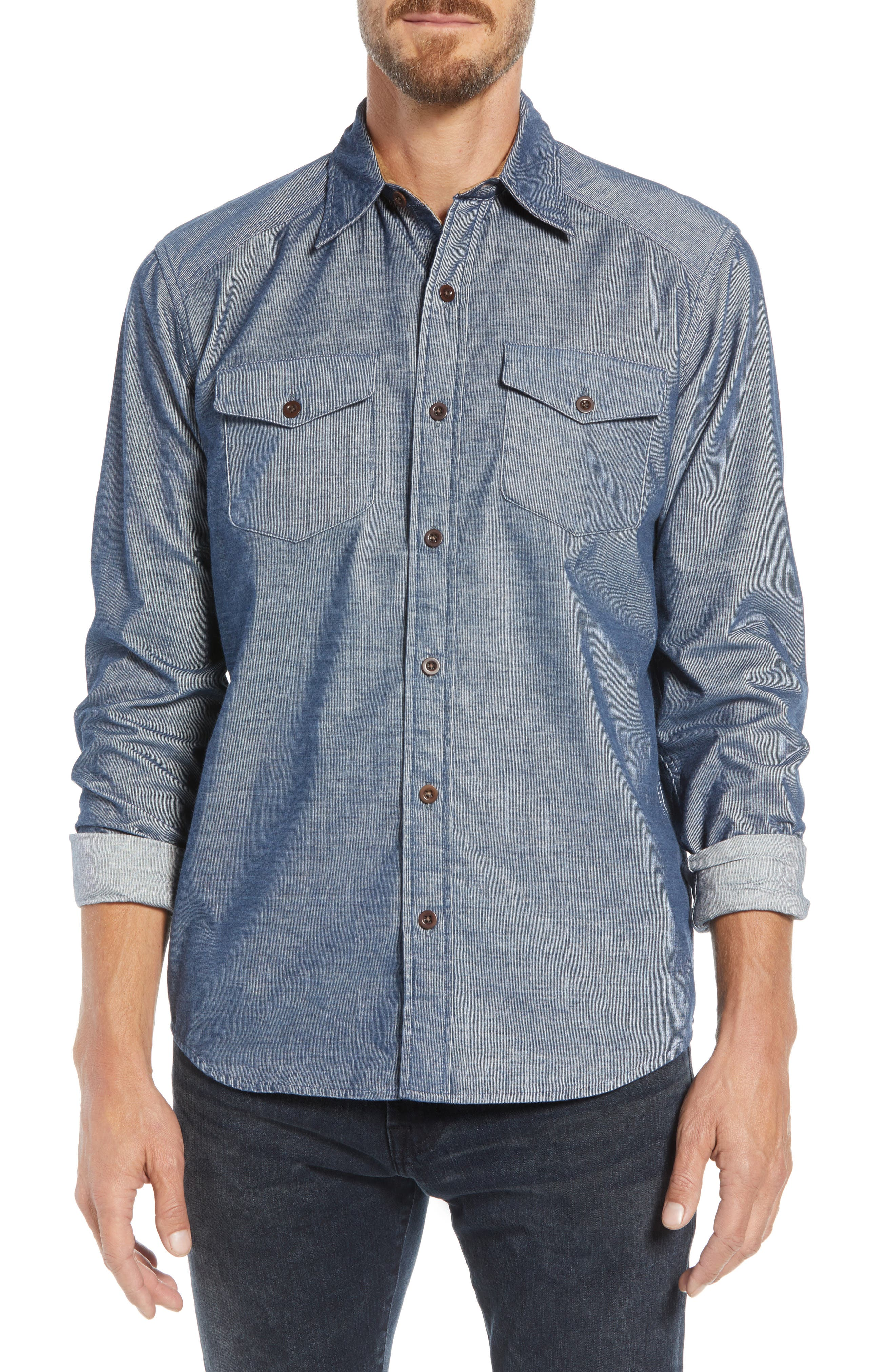 John Addison Engineer Shirt,                             Main thumbnail 1, color,                             BLUE HEATHER