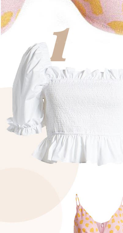 English Factory Smocked Cotton-Blend Blouse