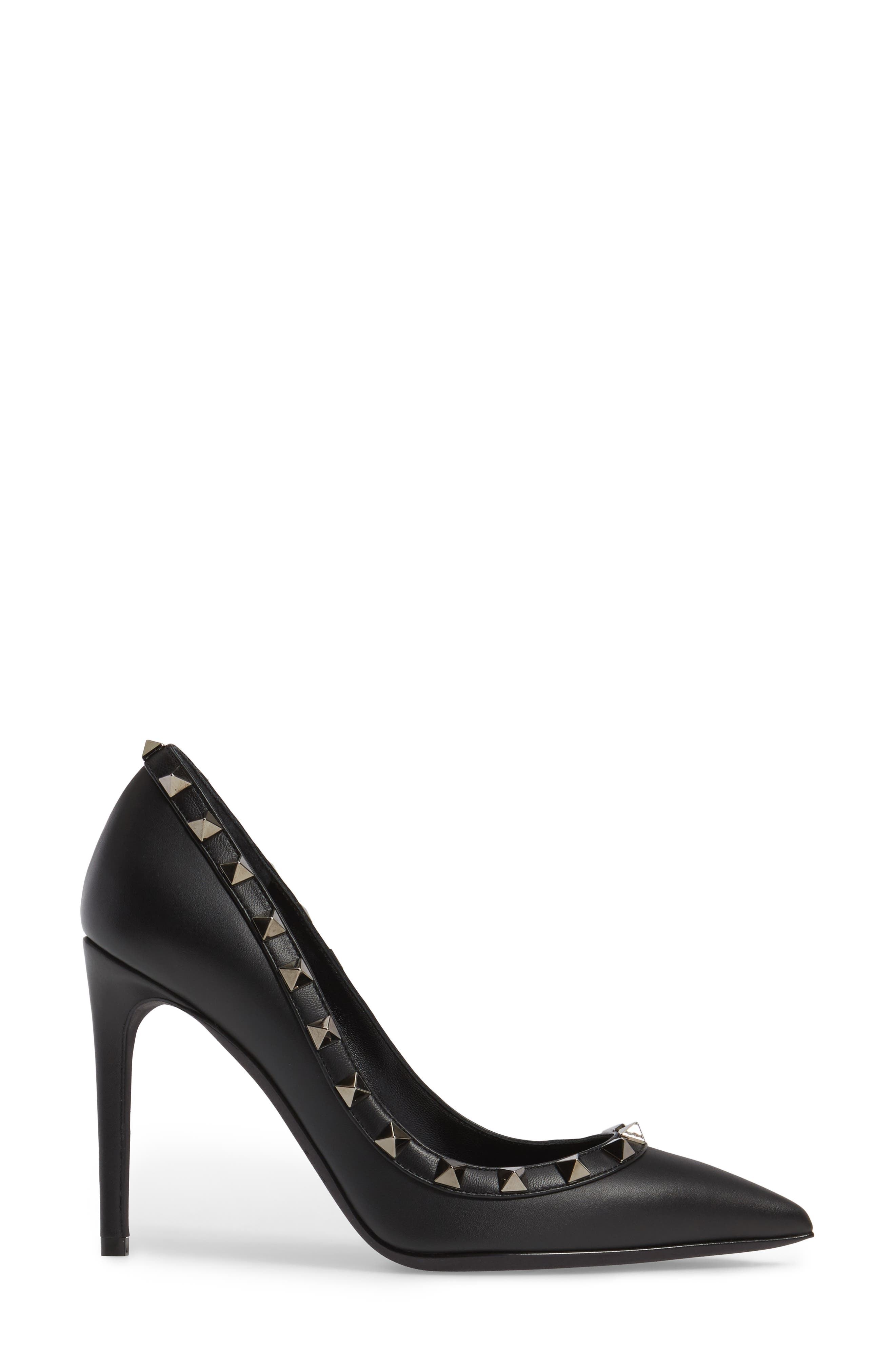 Rockstud Pointy Toe Pump,                             Alternate thumbnail 3, color,                             001