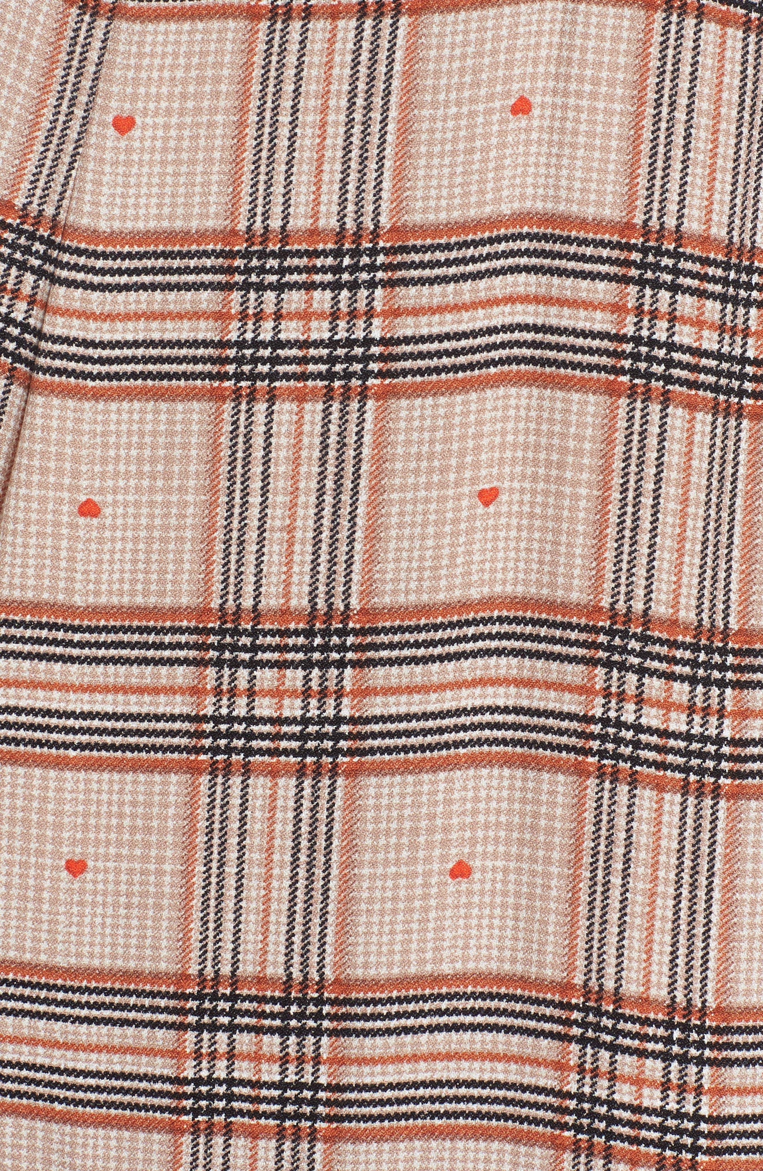 Quinn Wrap Midi Dress,                             Alternate thumbnail 6, color,                             PLAID WITH HEART