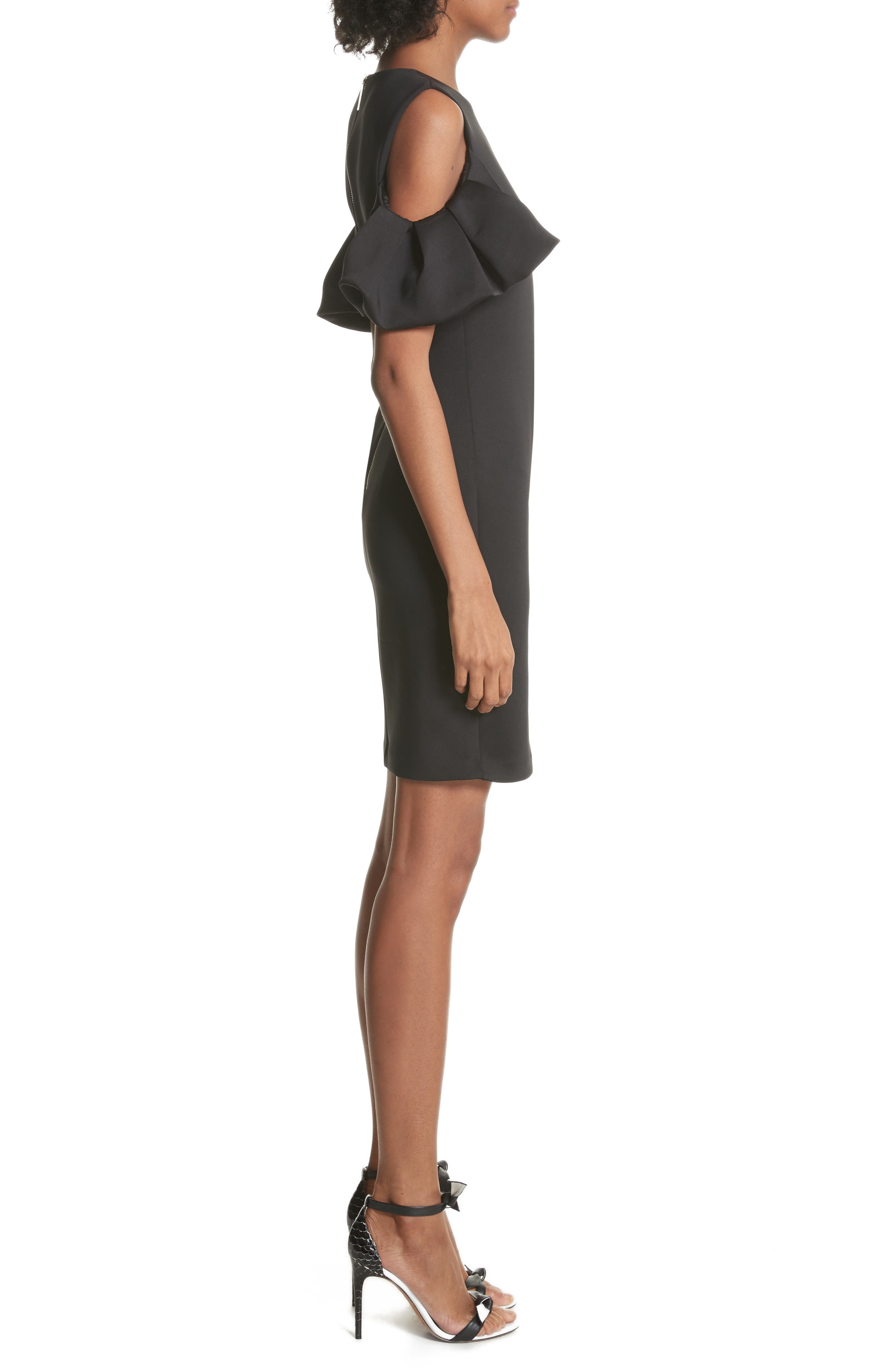 Salnie Cold Shoulder Sheath Dress,                             Alternate thumbnail 3, color,                             001