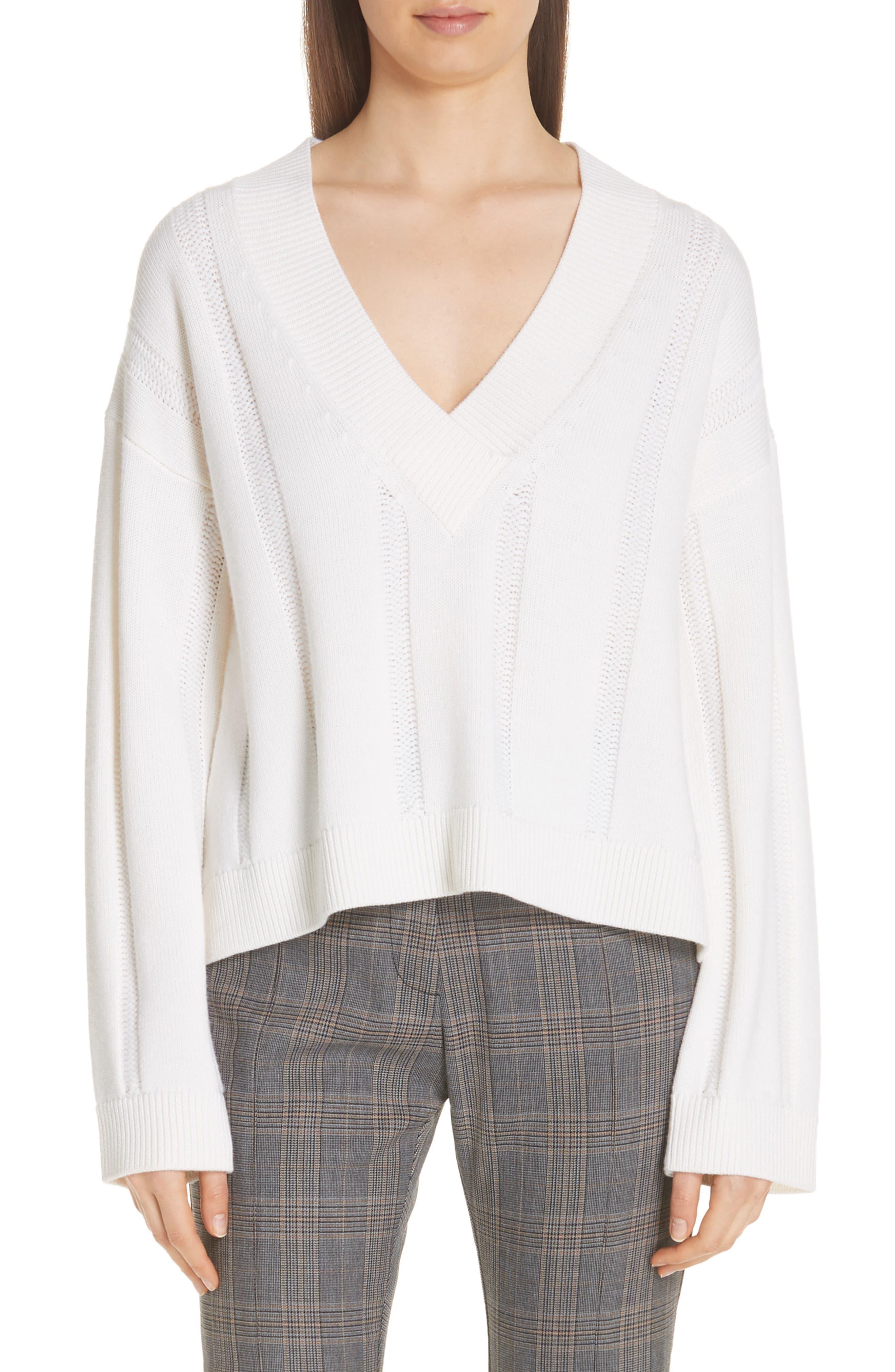 Derek Lam 10 Crosby V-Neck Wool Sweater, White