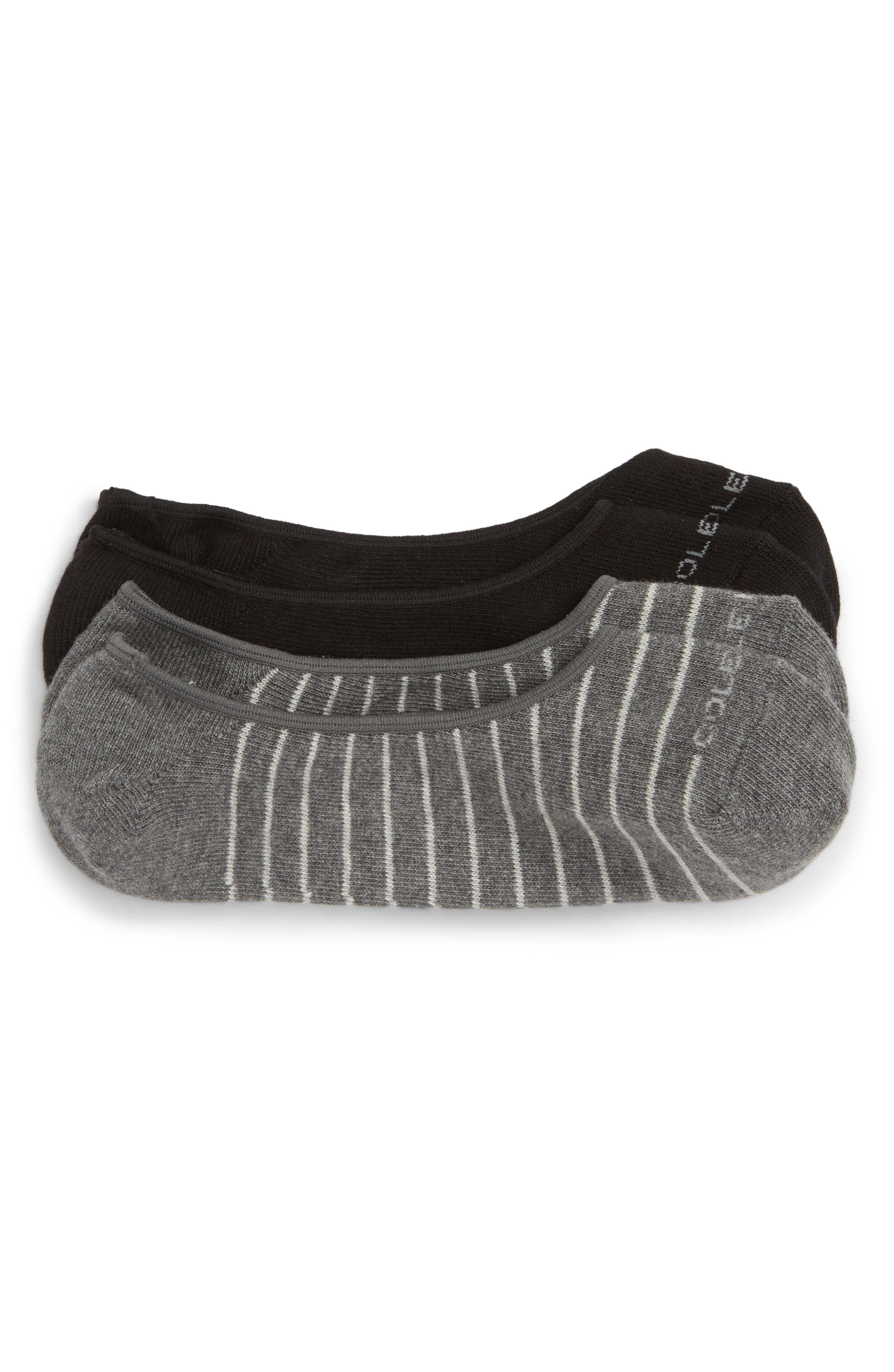 2-Pack Fine Stripe No-Show Socks,                             Main thumbnail 1, color,                             GREY