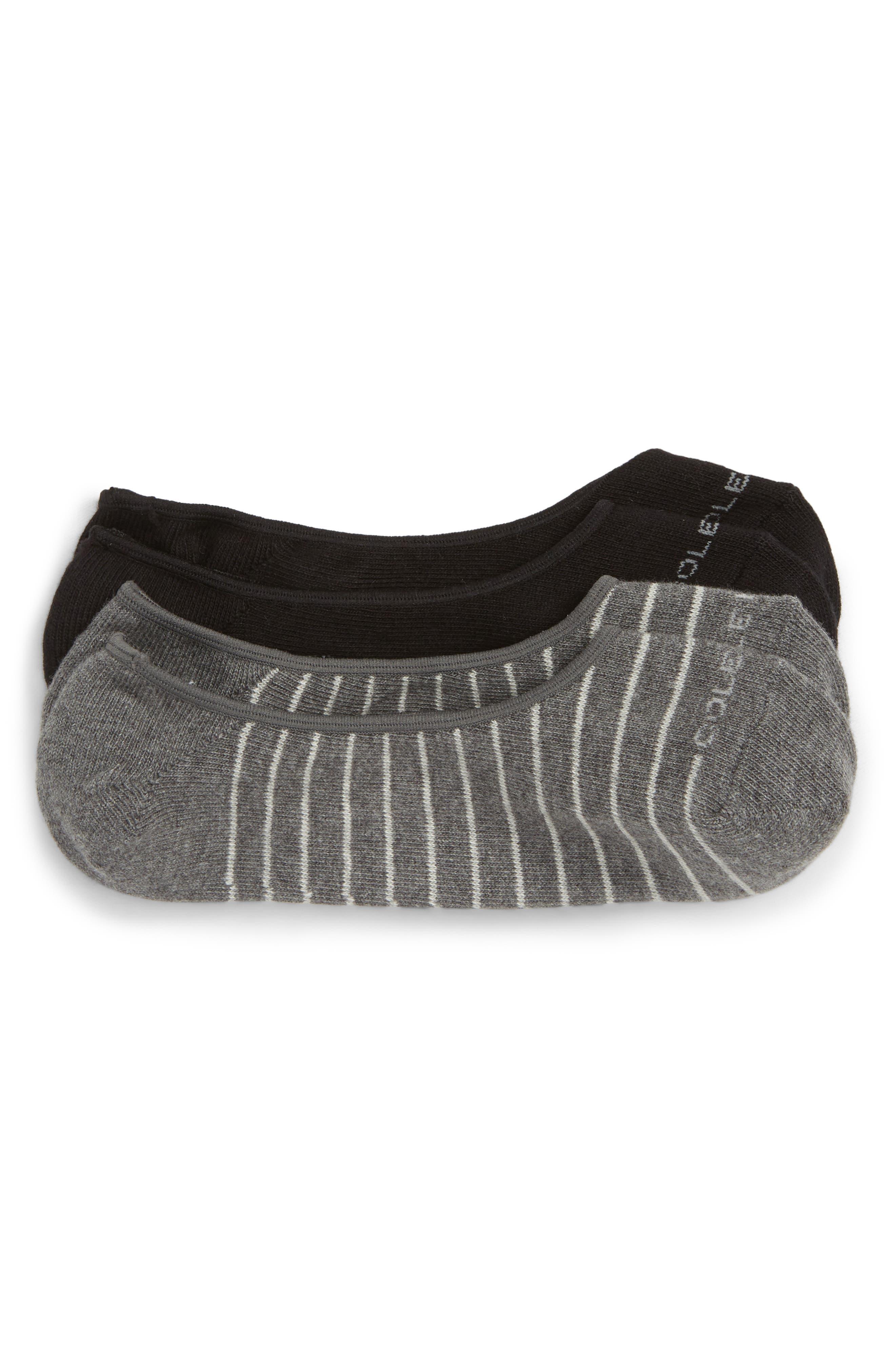 2-Pack Fine Stripe No-Show Socks,                         Main,                         color, GREY