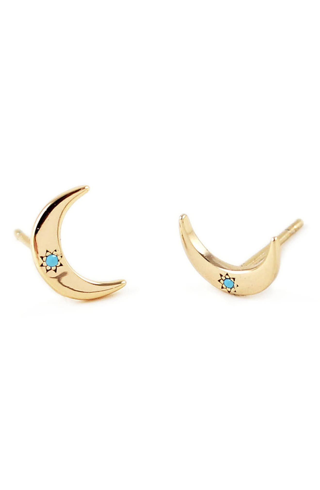 Crescent Moon Stone Stud Earrings,                             Main thumbnail 2, color,