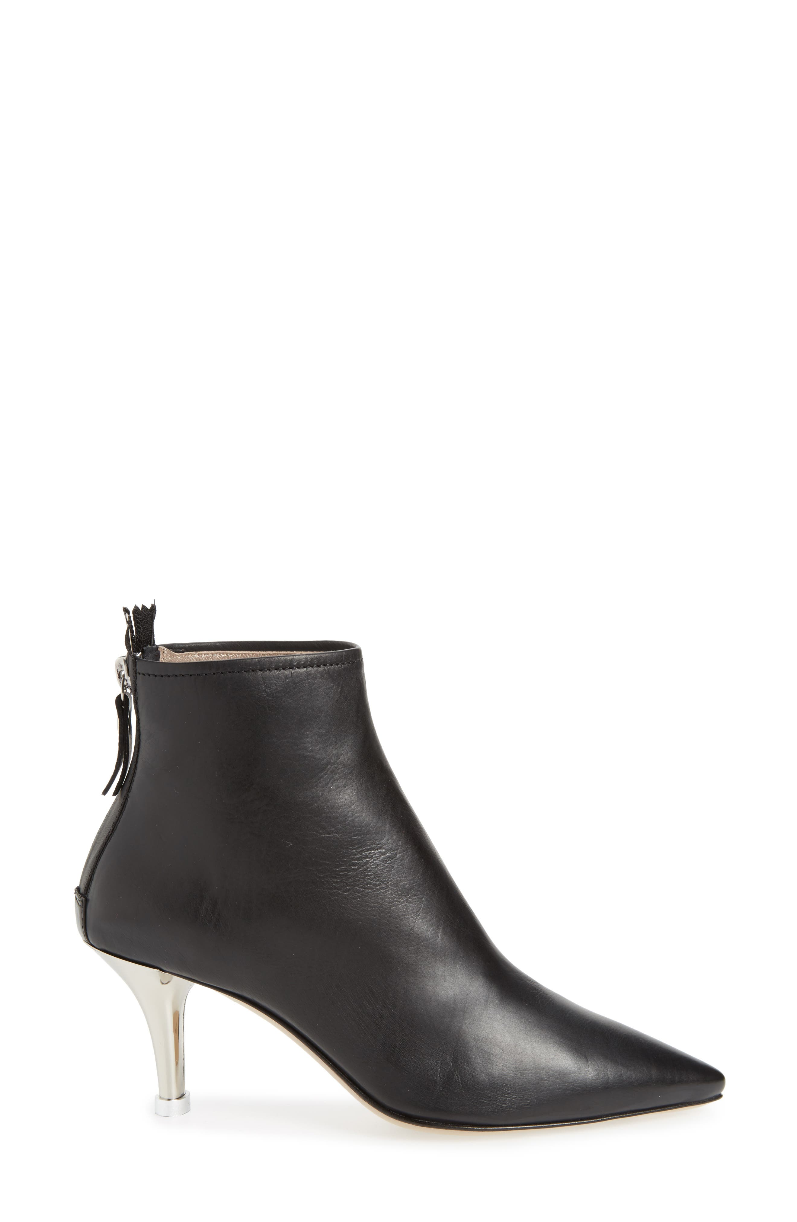 Pointy Toe Bootie,                             Alternate thumbnail 3, color,                             BLACK LEATHER