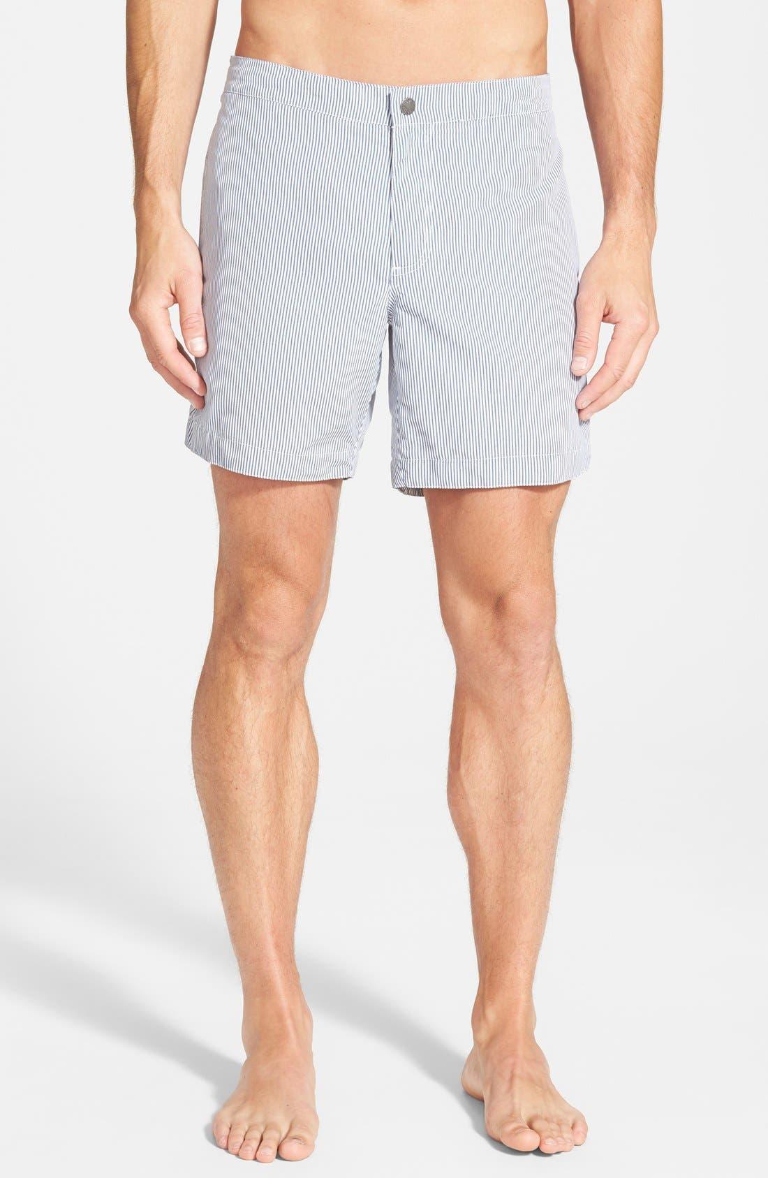 'Aruba - Stripe' Tailored Fit 6.5 Inch Board Shorts,                         Main,                         color, STRIPED ANCHOR GRAY
