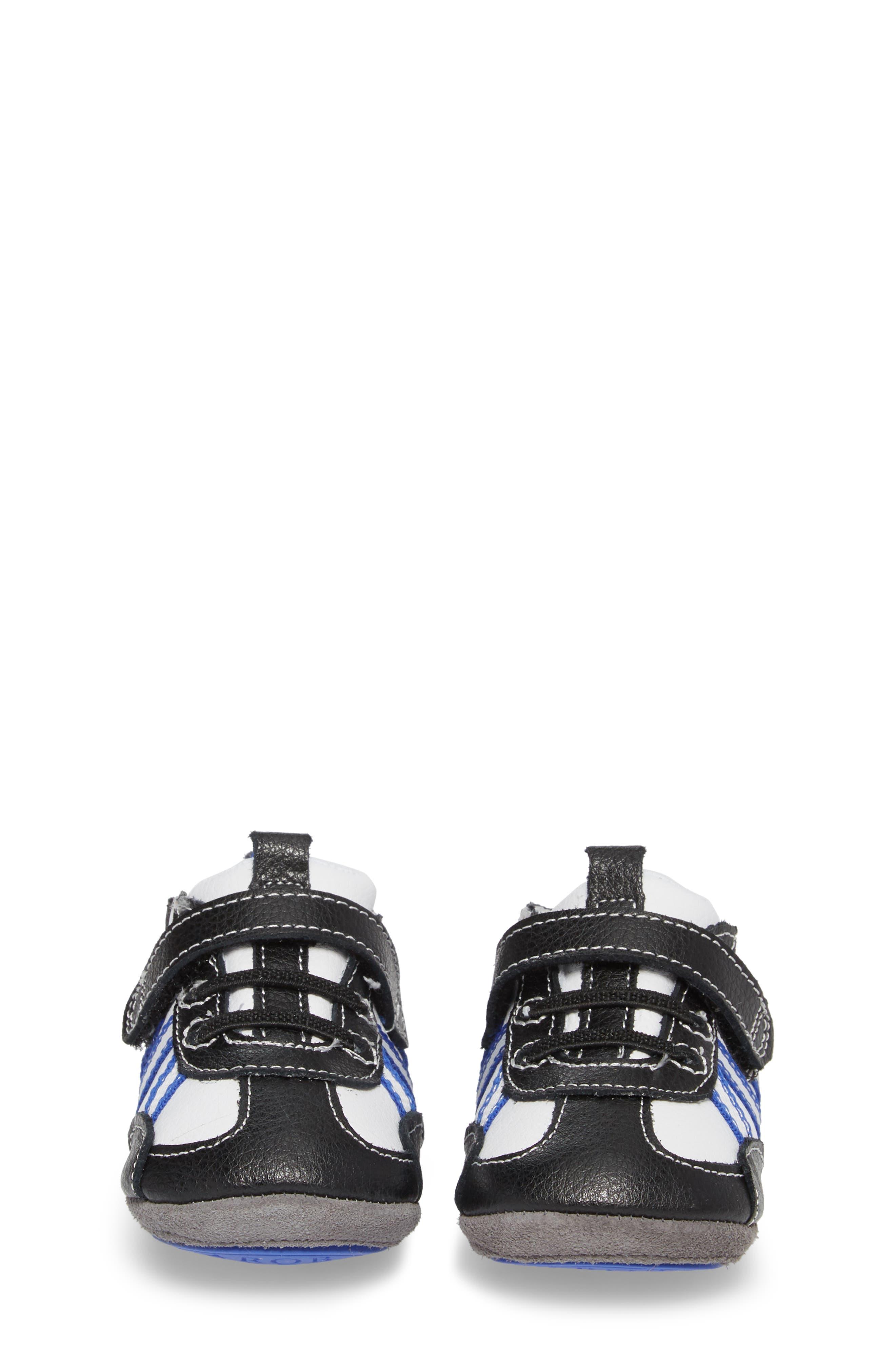 Jogging Josh Slip-On Crib Sneaker,                             Alternate thumbnail 4, color,                             BLACK