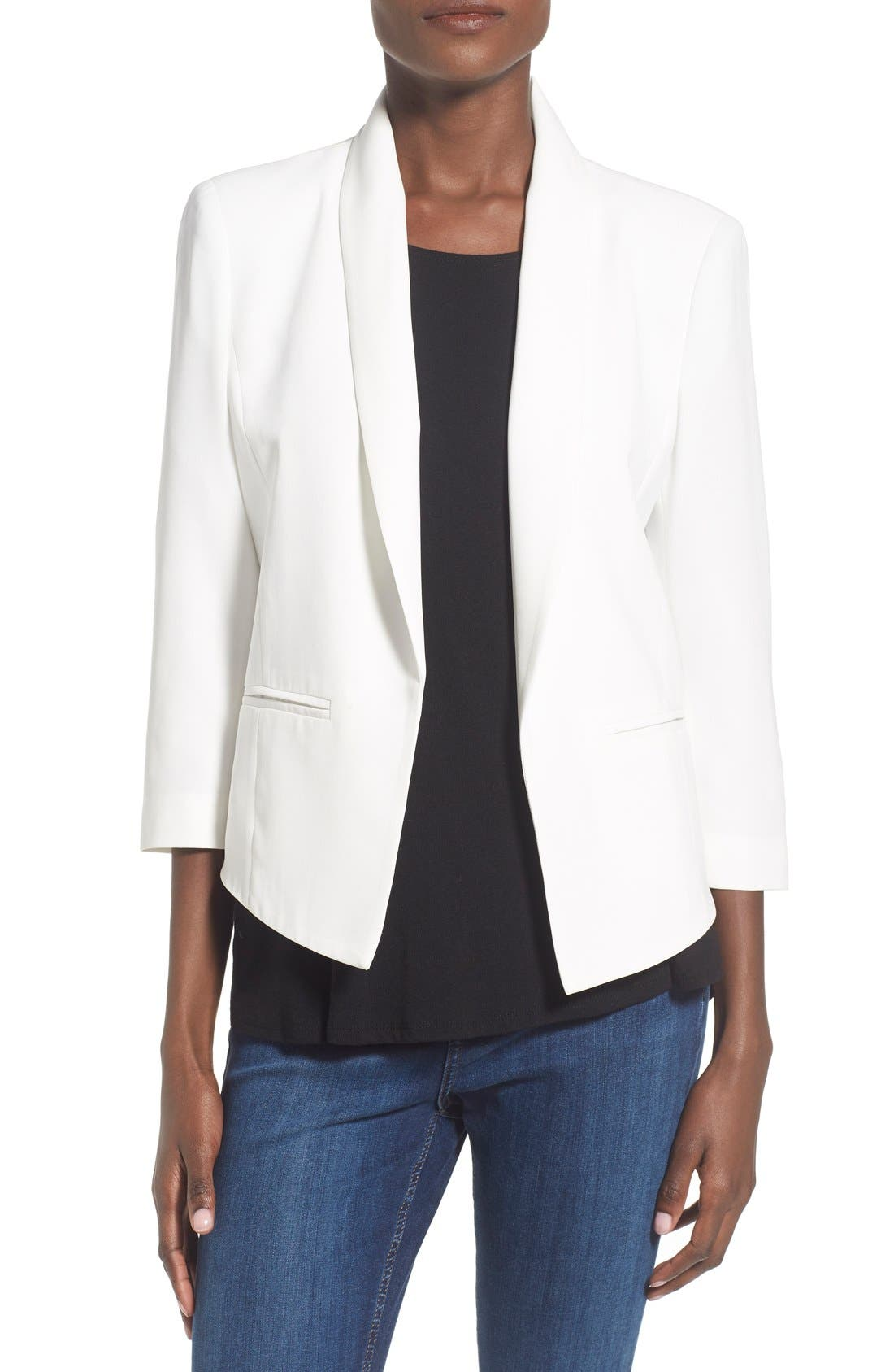 'Curve' Open Front Shawl Collar Blazer,                         Main,                         color, WHITE