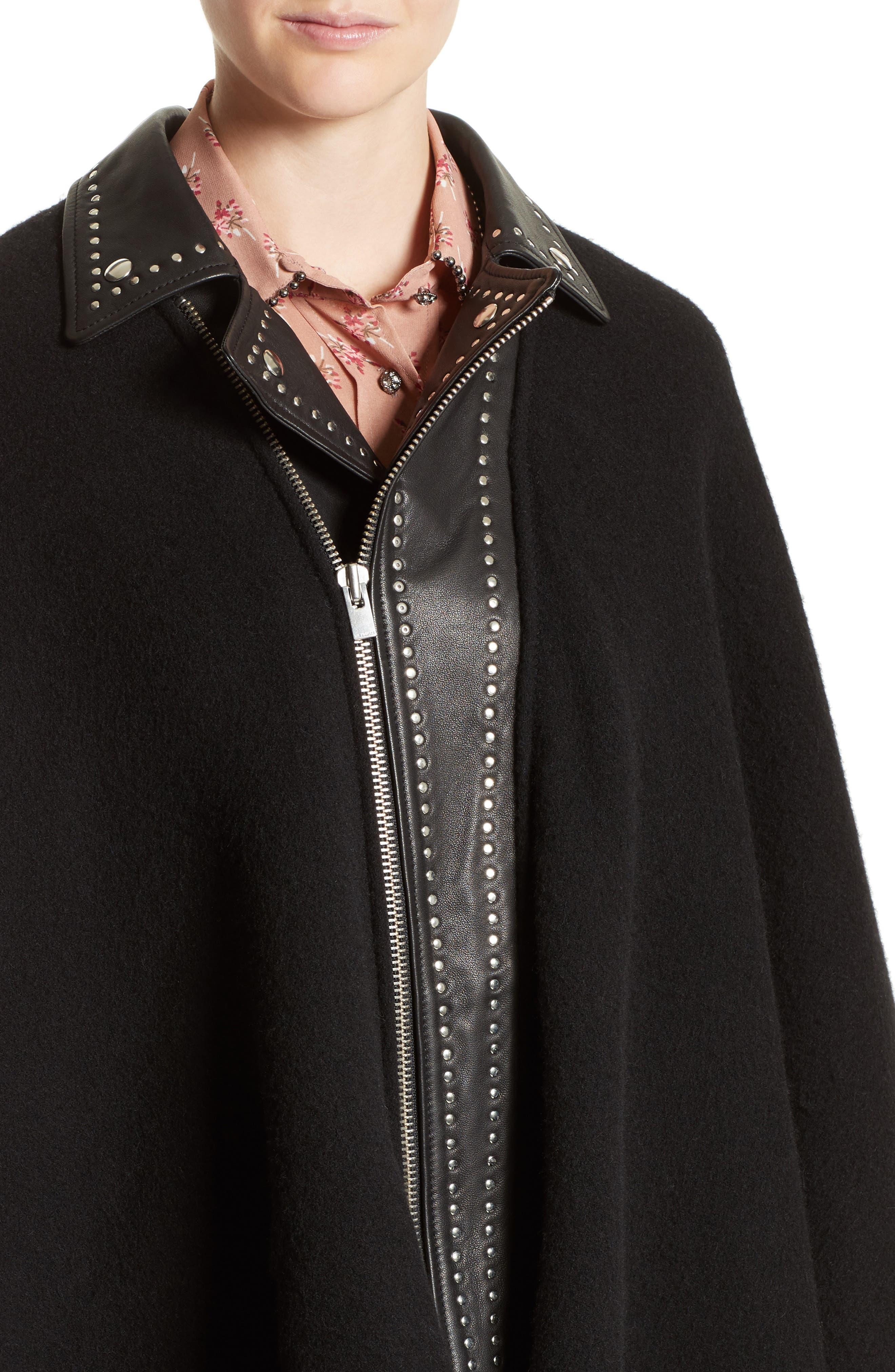 Leather Collar Wool Blend Poncho,                             Alternate thumbnail 4, color,                             001
