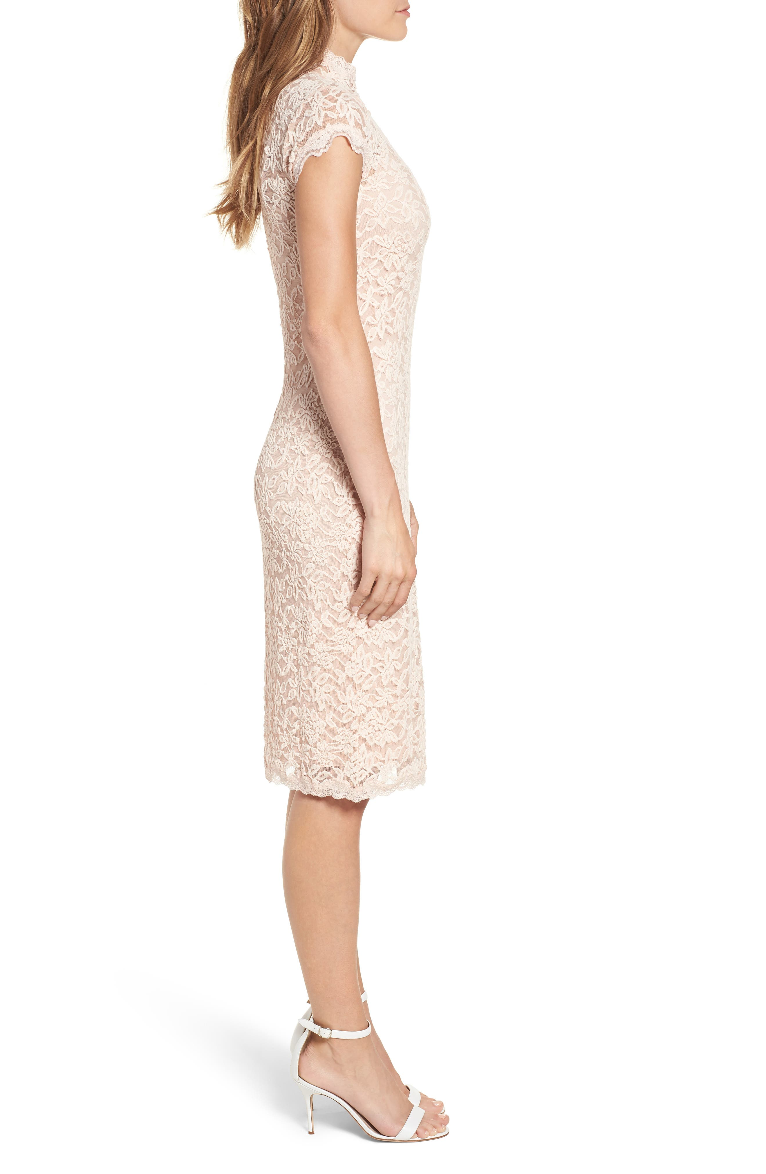 Delicia Lace Body-Con Dress,                             Alternate thumbnail 3, color,                             PALE DOGWOOD