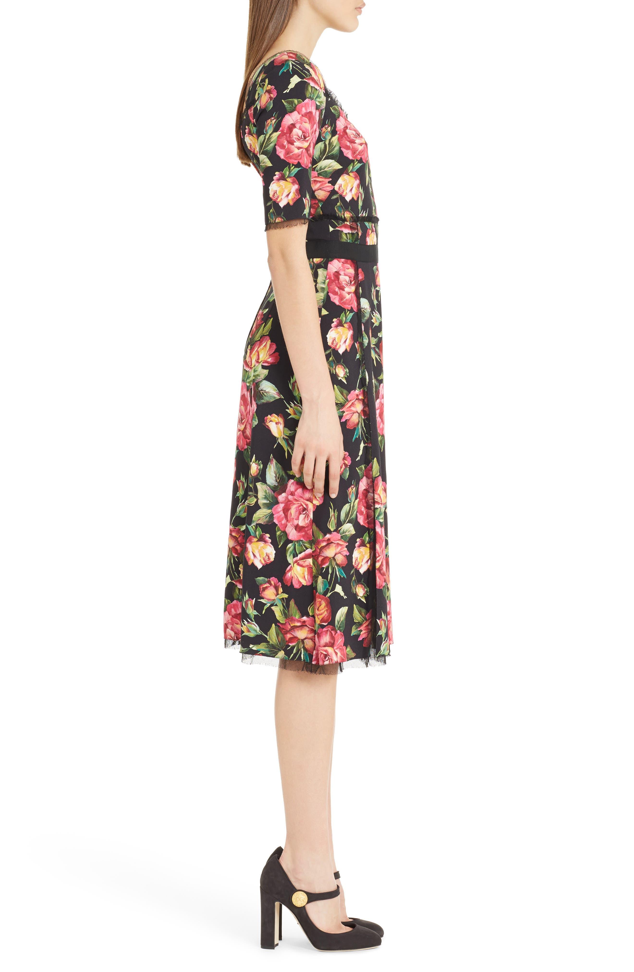 Rose Print Cady A-Line Dress,                             Alternate thumbnail 3, color,                             001