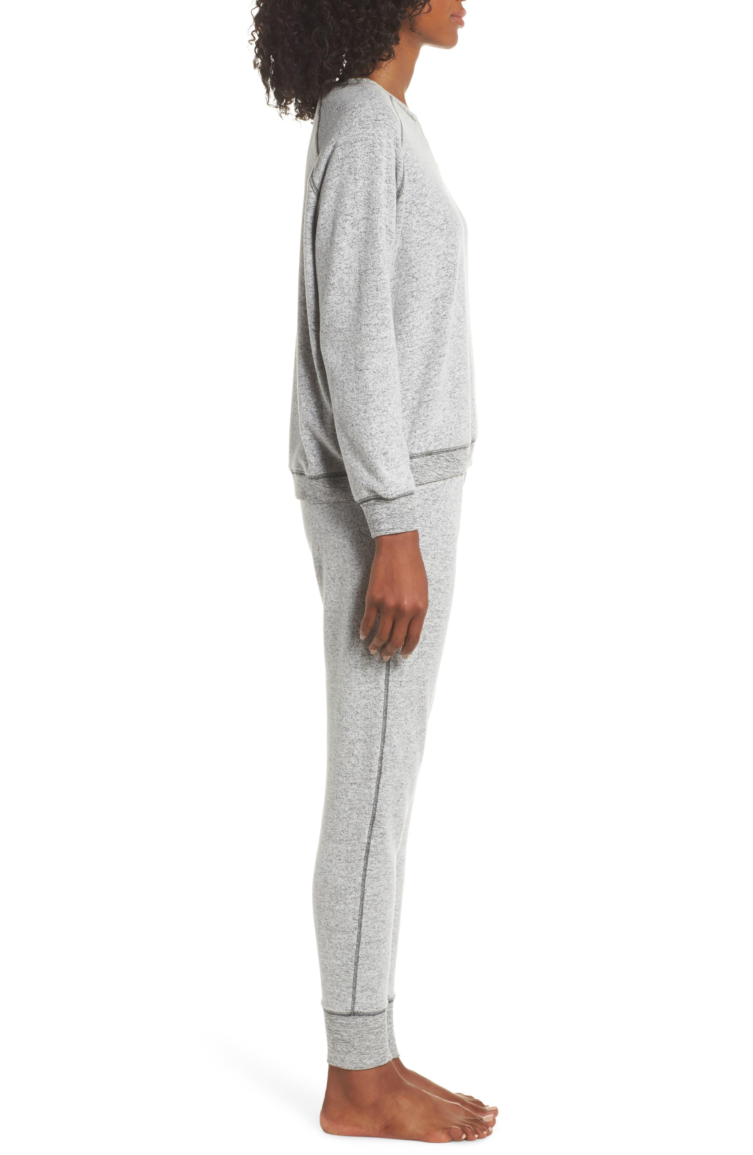So Soft Knit Pajamas,                             Alternate thumbnail 3, color,                             CHARCOAL MARL