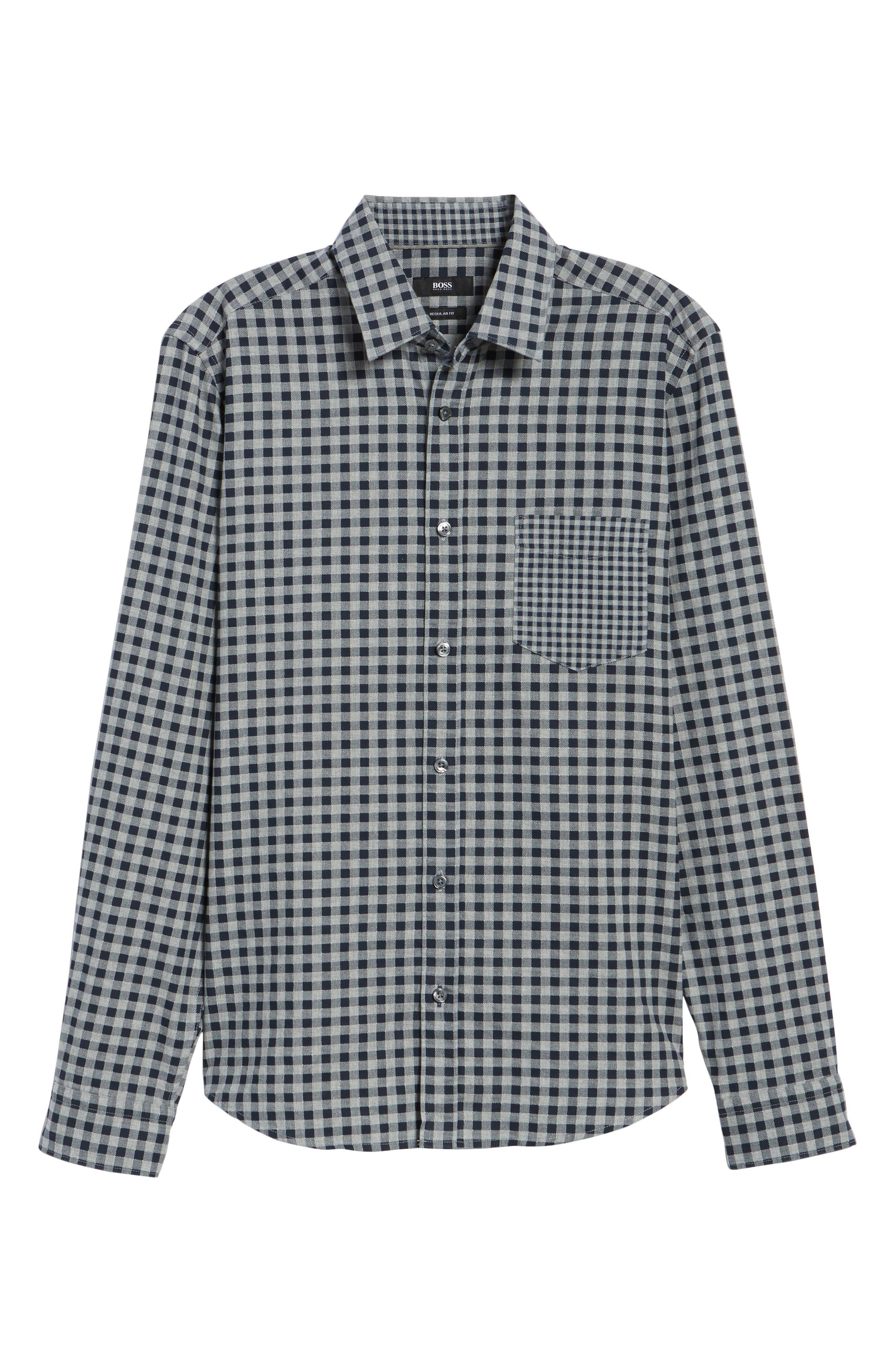 Lance Regular Fit Gingham Sport Shirt,                             Alternate thumbnail 6, color,                             410