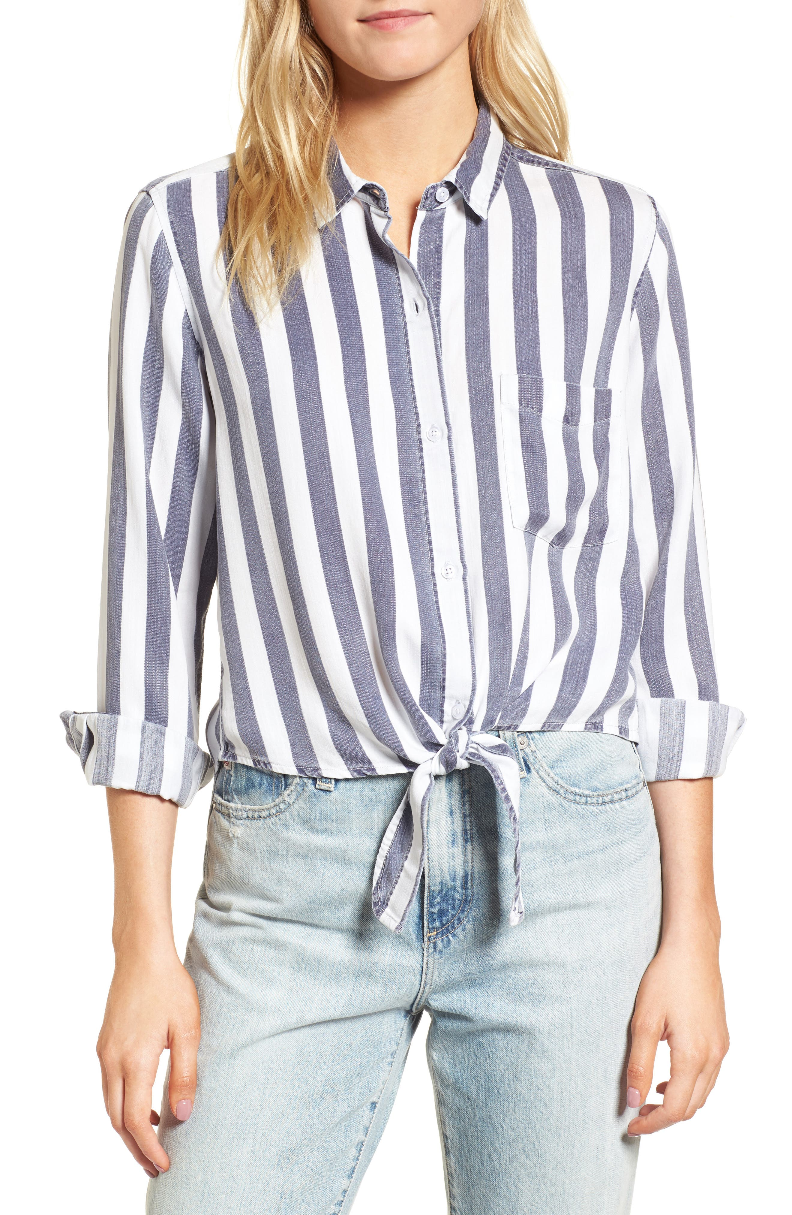 Val Stripe Tie Front Top,                             Main thumbnail 1, color,