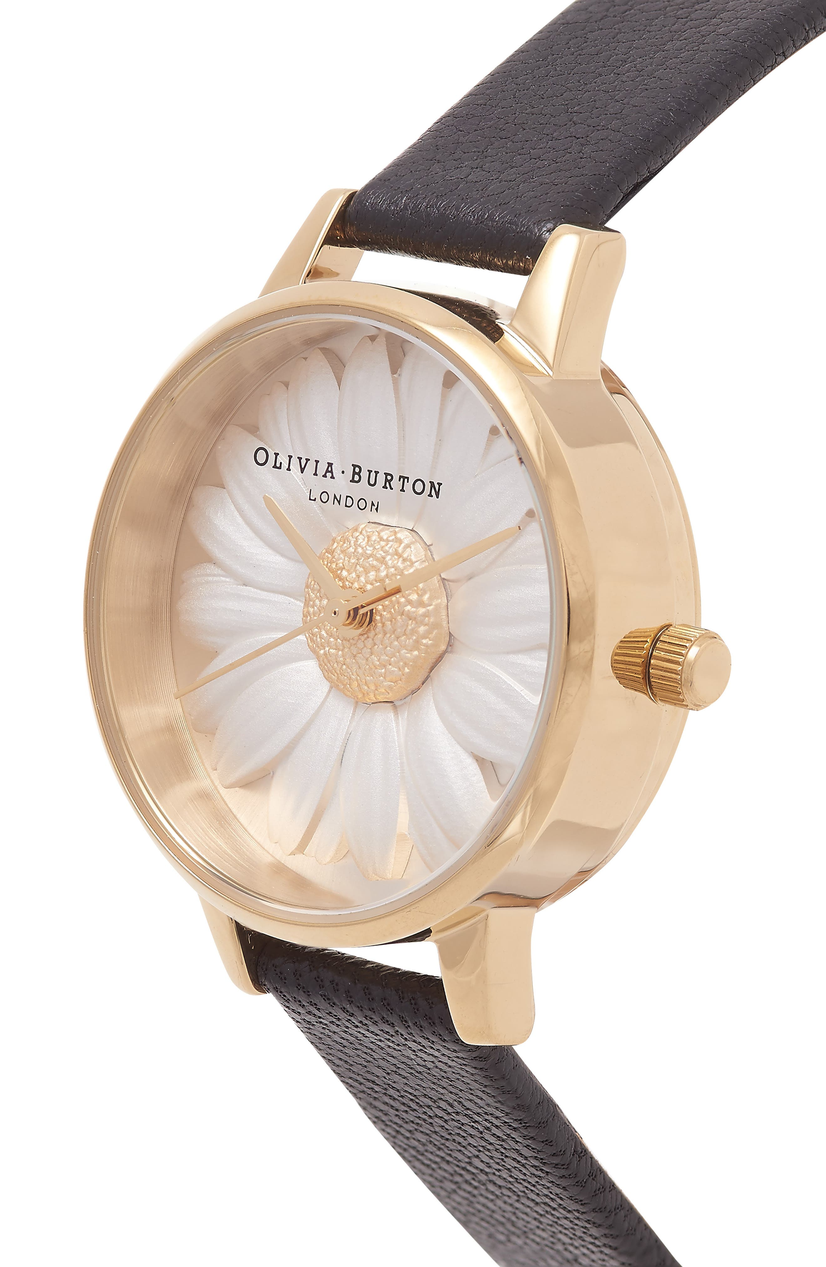 3D Daisy Leather Strap Watch, 30mm,                             Alternate thumbnail 5, color,                             BLACK/ GOLD