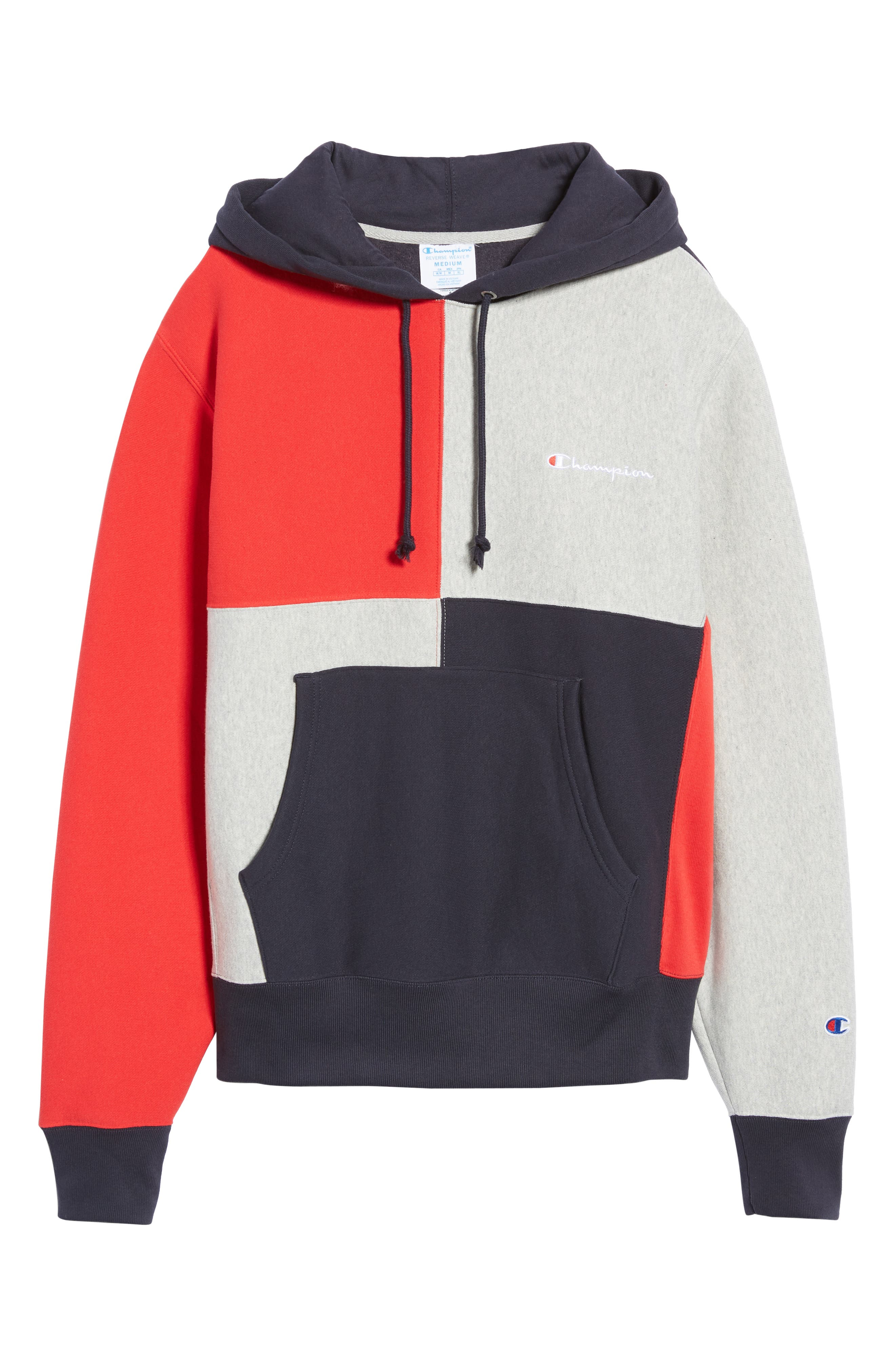 Colorblock Hoodie,                             Alternate thumbnail 6, color,                             NAVY/ OXFORD GREY/ SCARLET