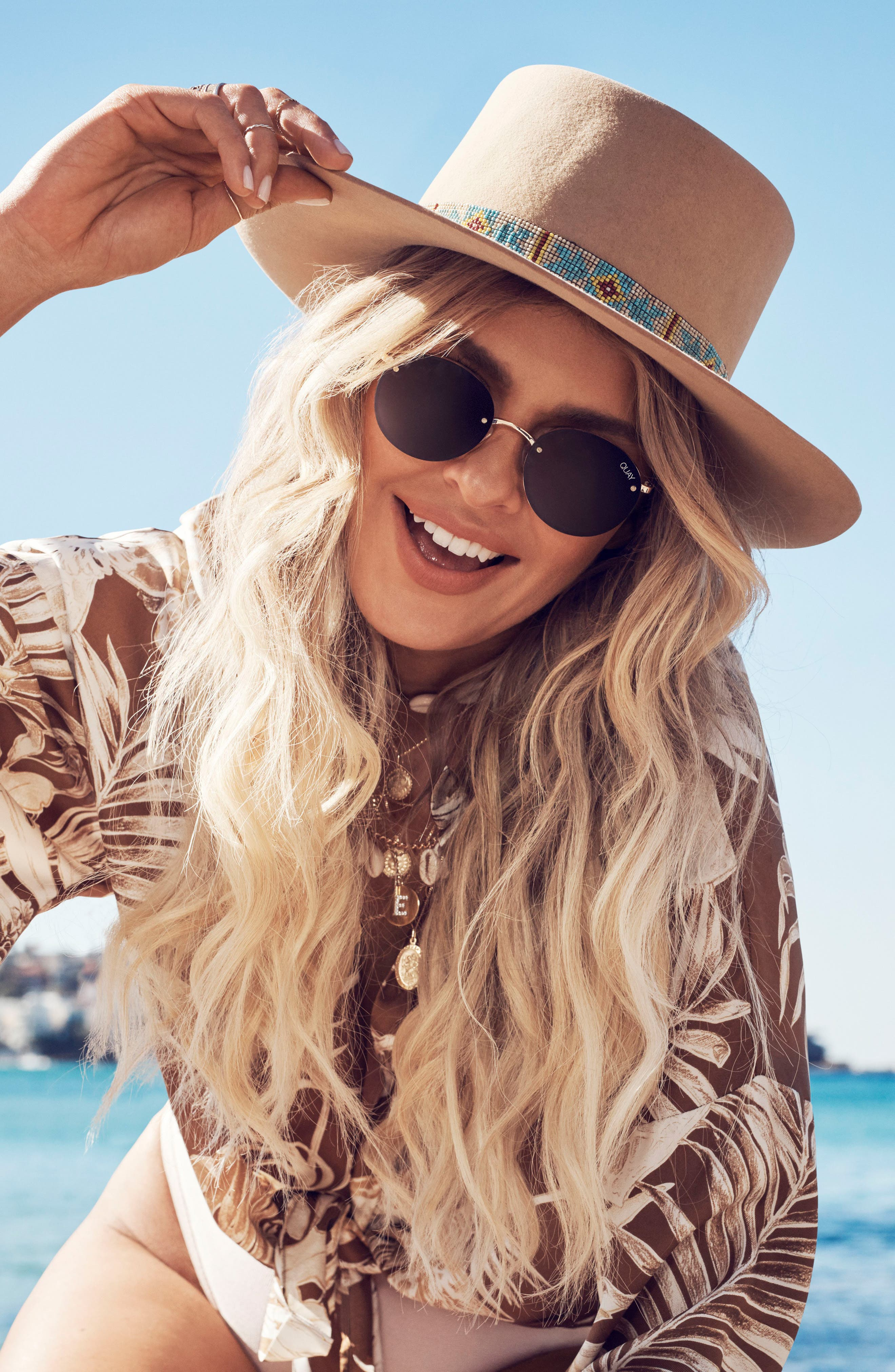 x Elle Ferguson Farrah 53mm Round Sunglasses,                             Alternate thumbnail 4, color,                             BLACK/ SMOKE