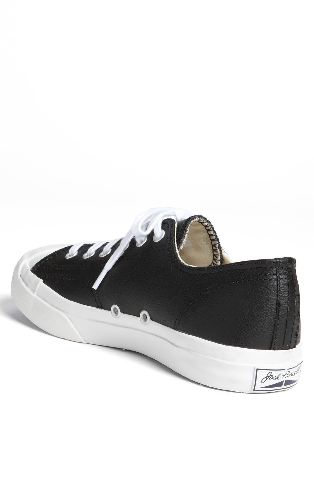 'Jack Purcell' Leather Sneaker,                             Alternate thumbnail 2, color,                             BLACK/ WHITE