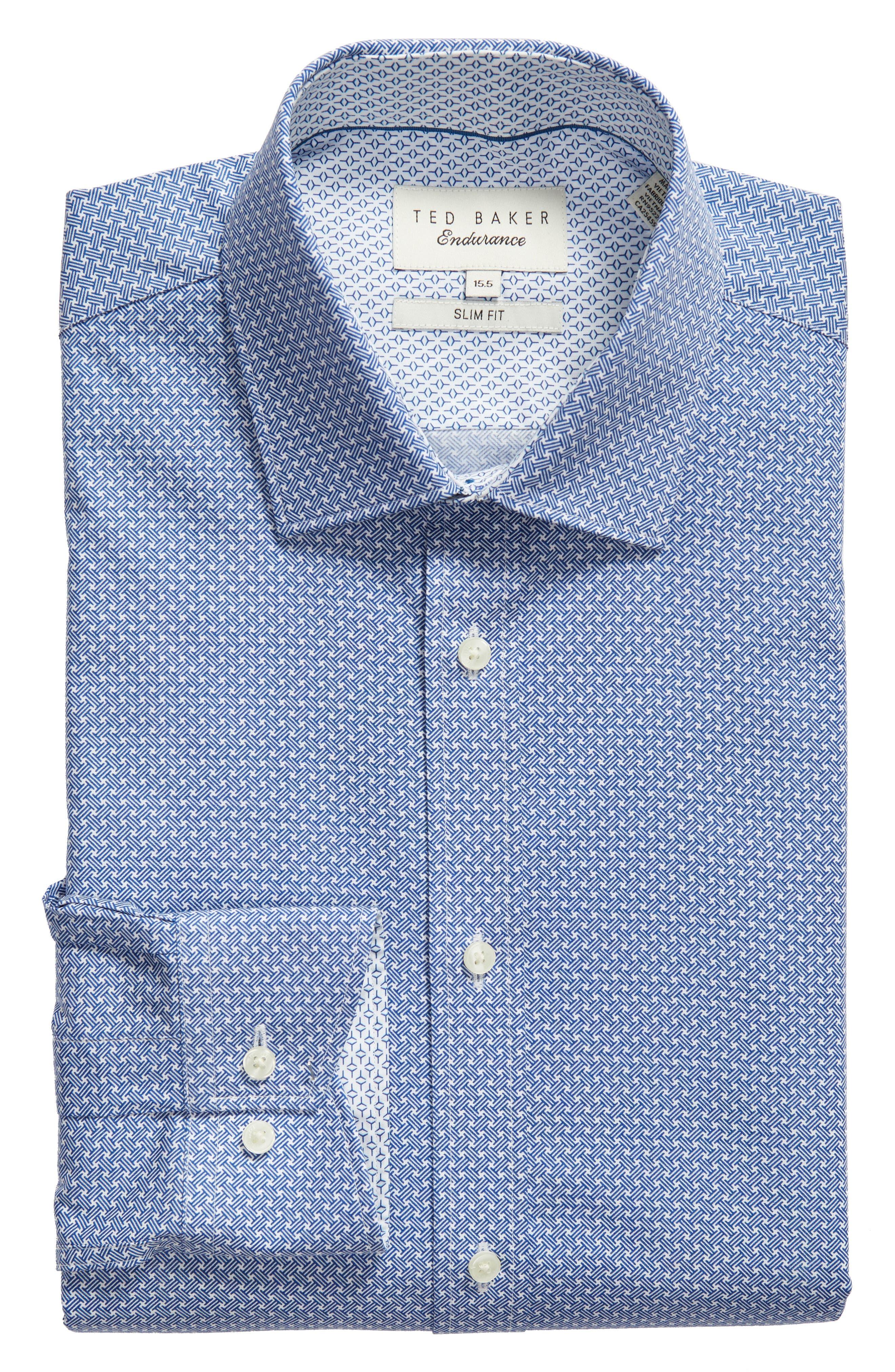 Rugber Slim Fit Print Dress Shirt,                             Alternate thumbnail 5, color,                             BLUE