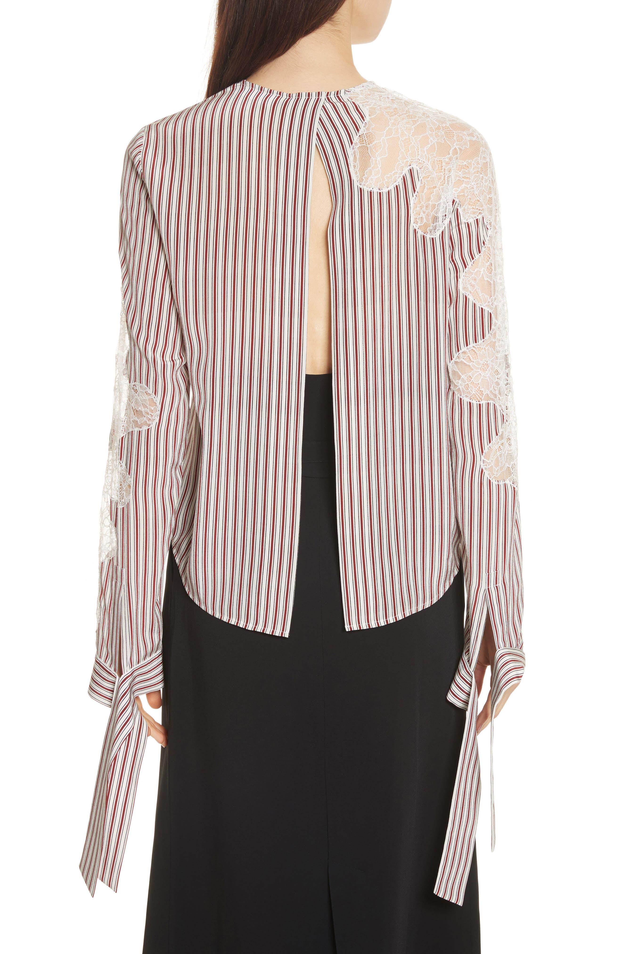 Lace Inset Stripe Blouse,                             Alternate thumbnail 2, color,