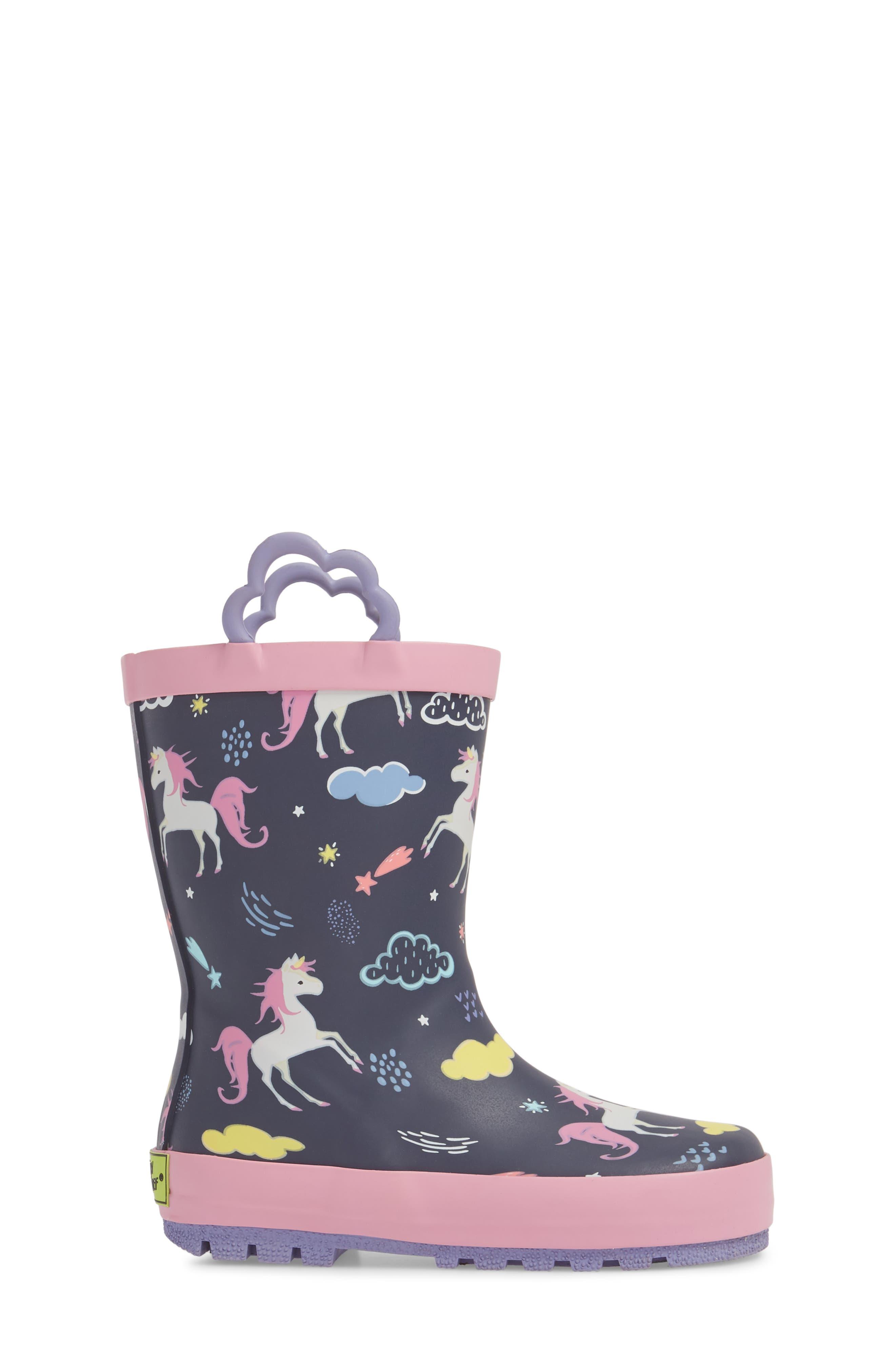 Unicorn Play Waterproof Rain Boot,                             Alternate thumbnail 3, color,                             421