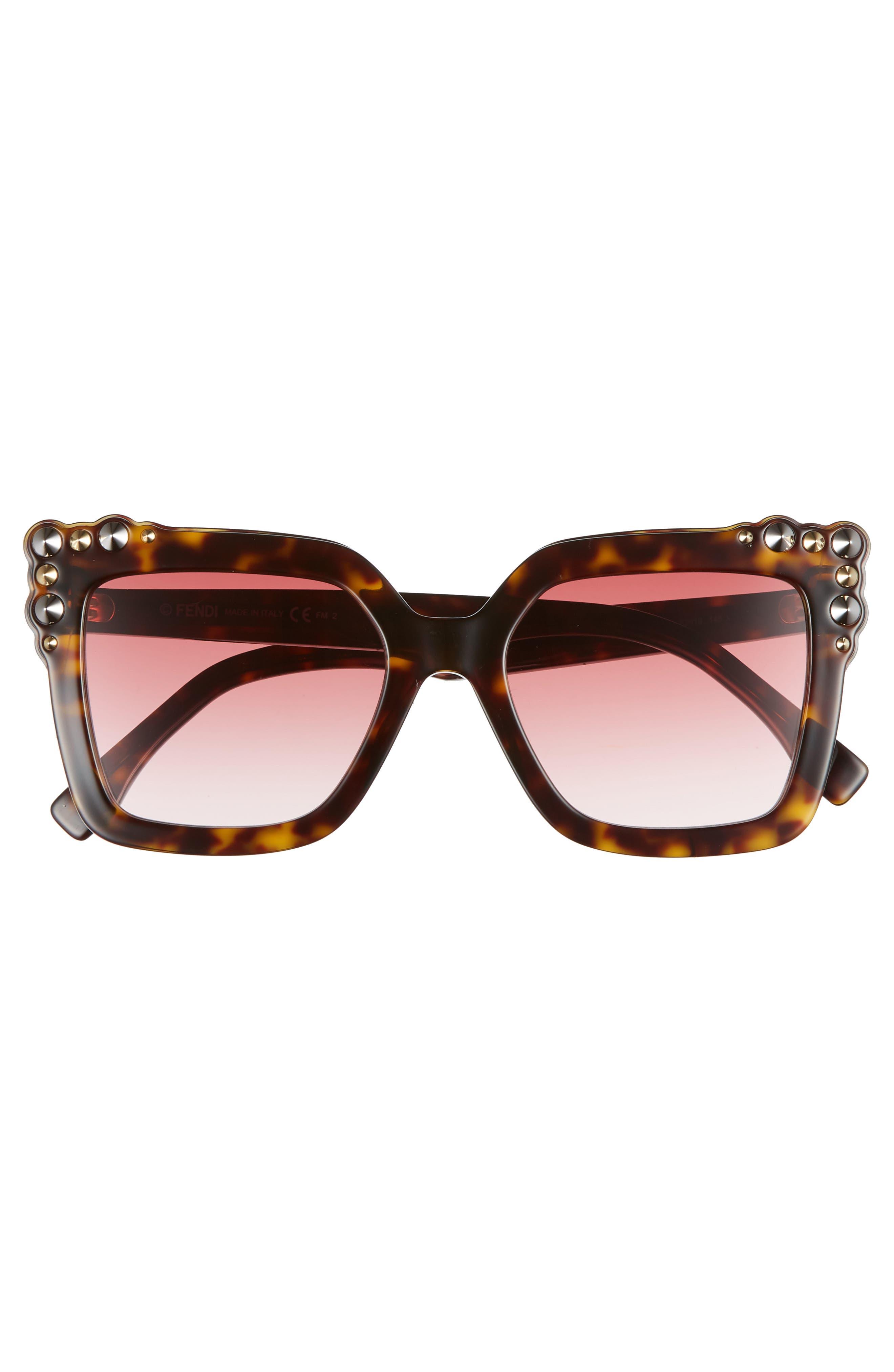 52mm Gradient Cat Eye Sunglasses,                             Alternate thumbnail 3, color,                             DARK HAVANA