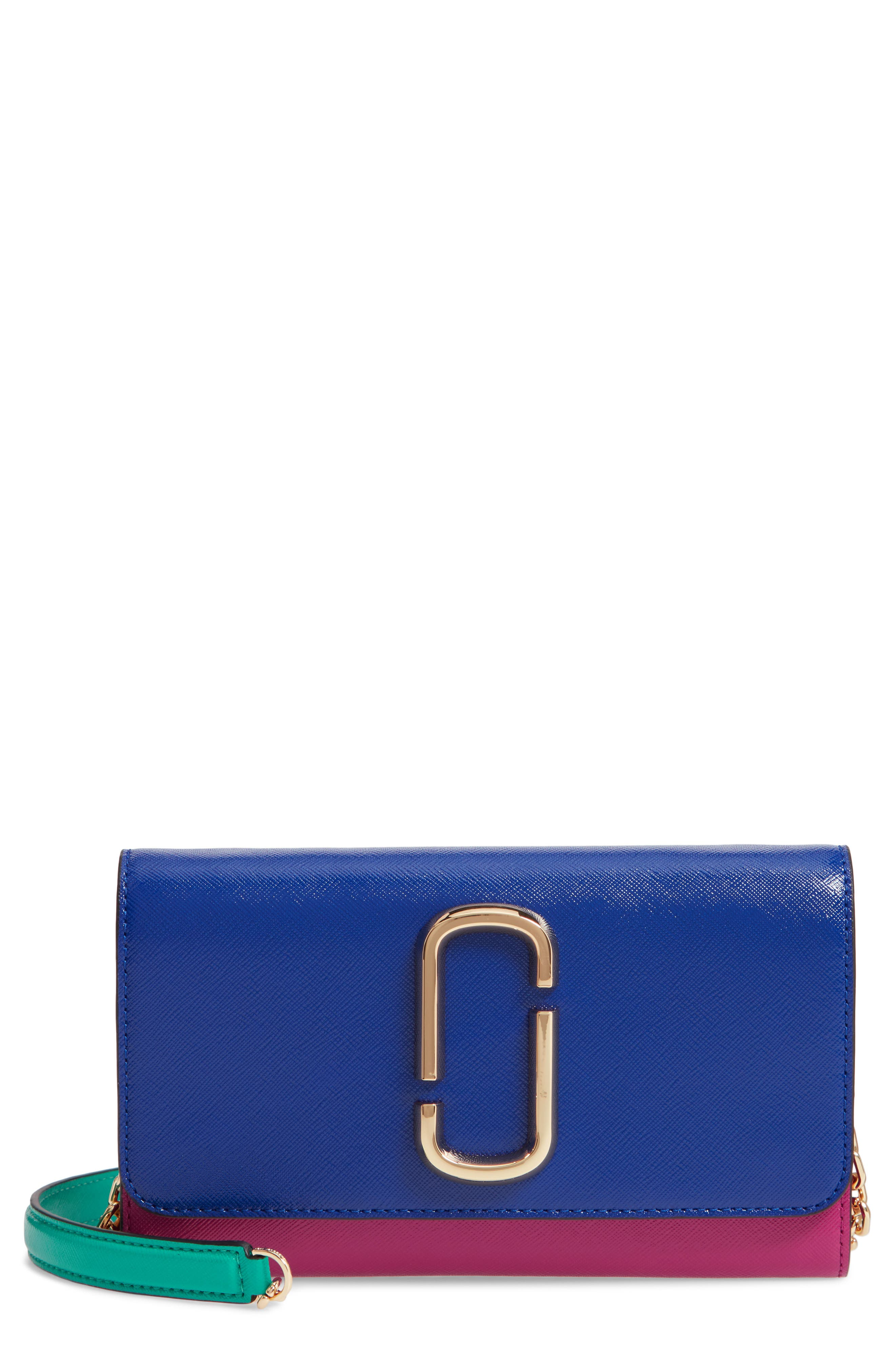Snapshot Leather Wallet on a Chain,                         Main,                         color, ACADEMY BLUE MULTI