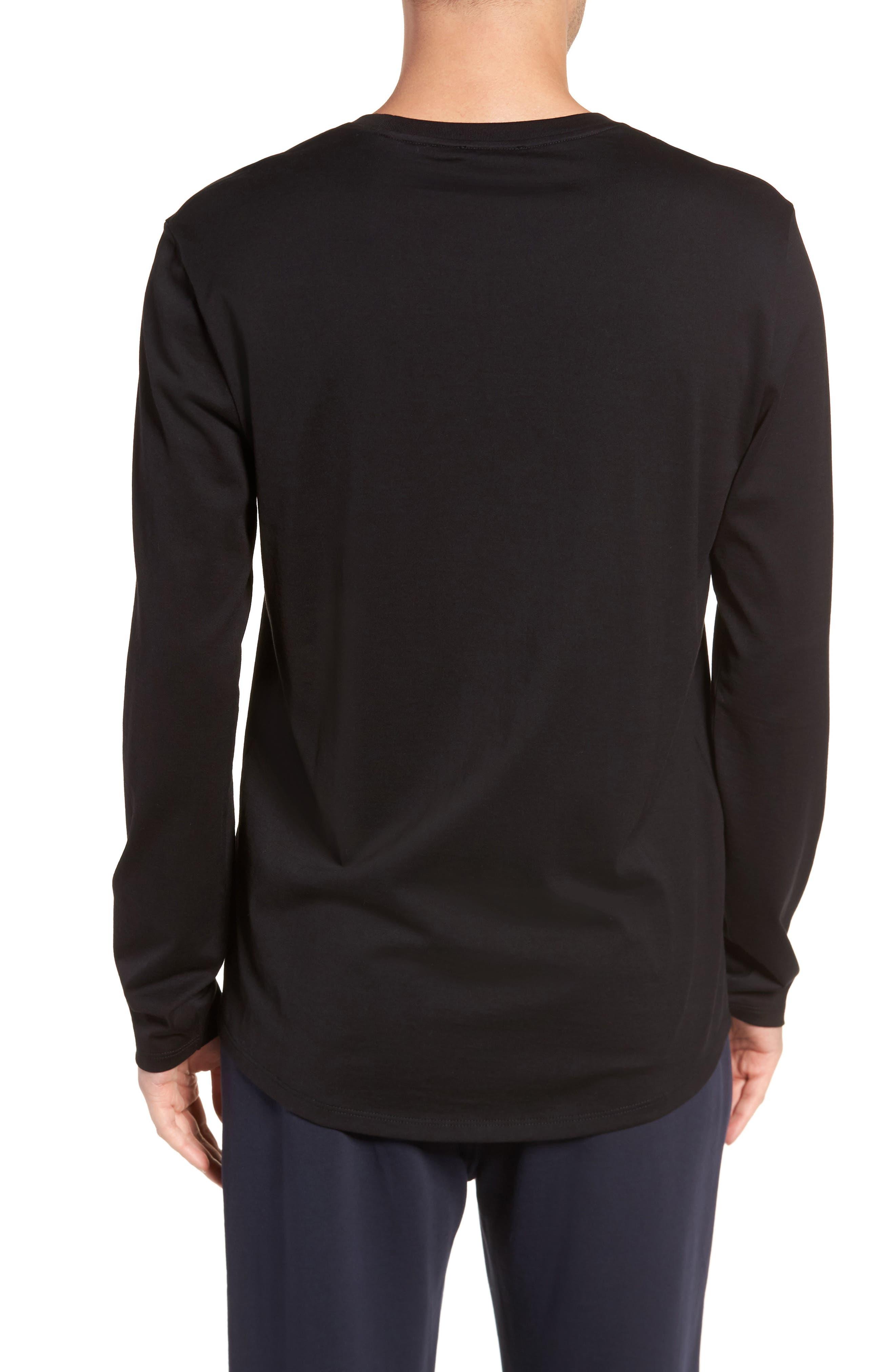 Drop Hem Crewneck T-Shirt,                             Alternate thumbnail 2, color,                             001
