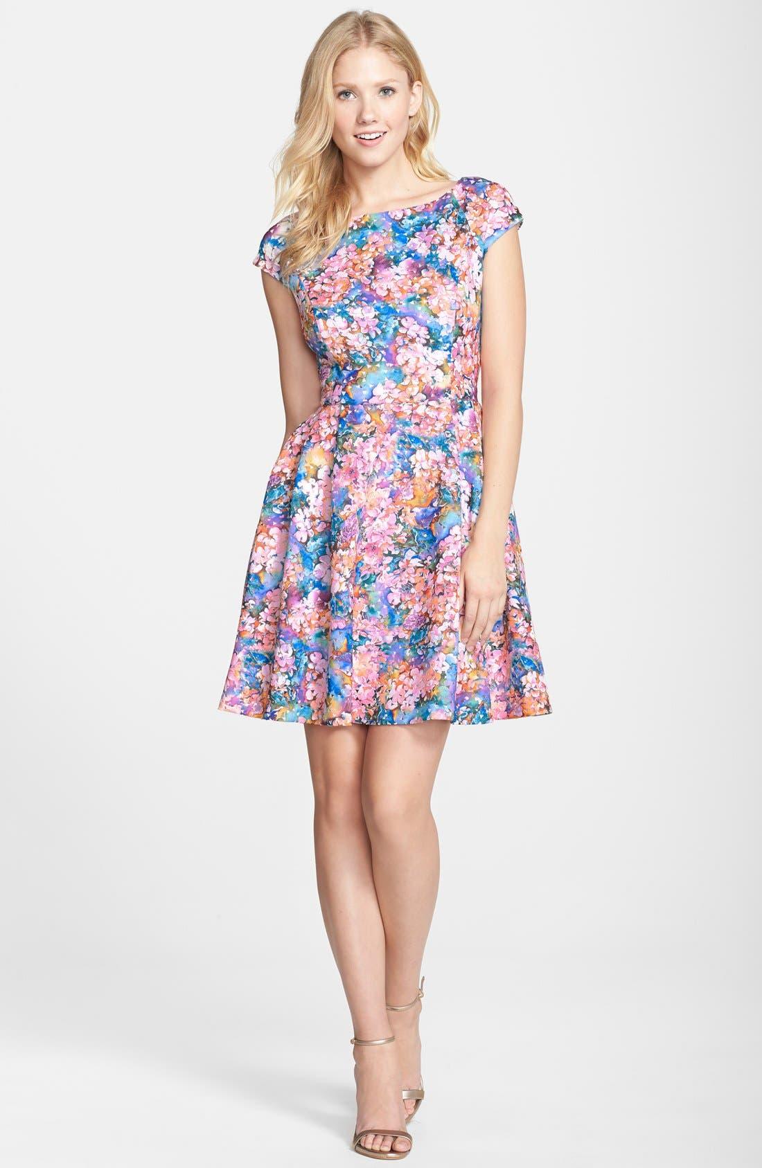 BETSEY JOHNSON,                             Laser Cut Floral Print Scuba Fit & Flare Dress,                             Alternate thumbnail 2, color,                             650