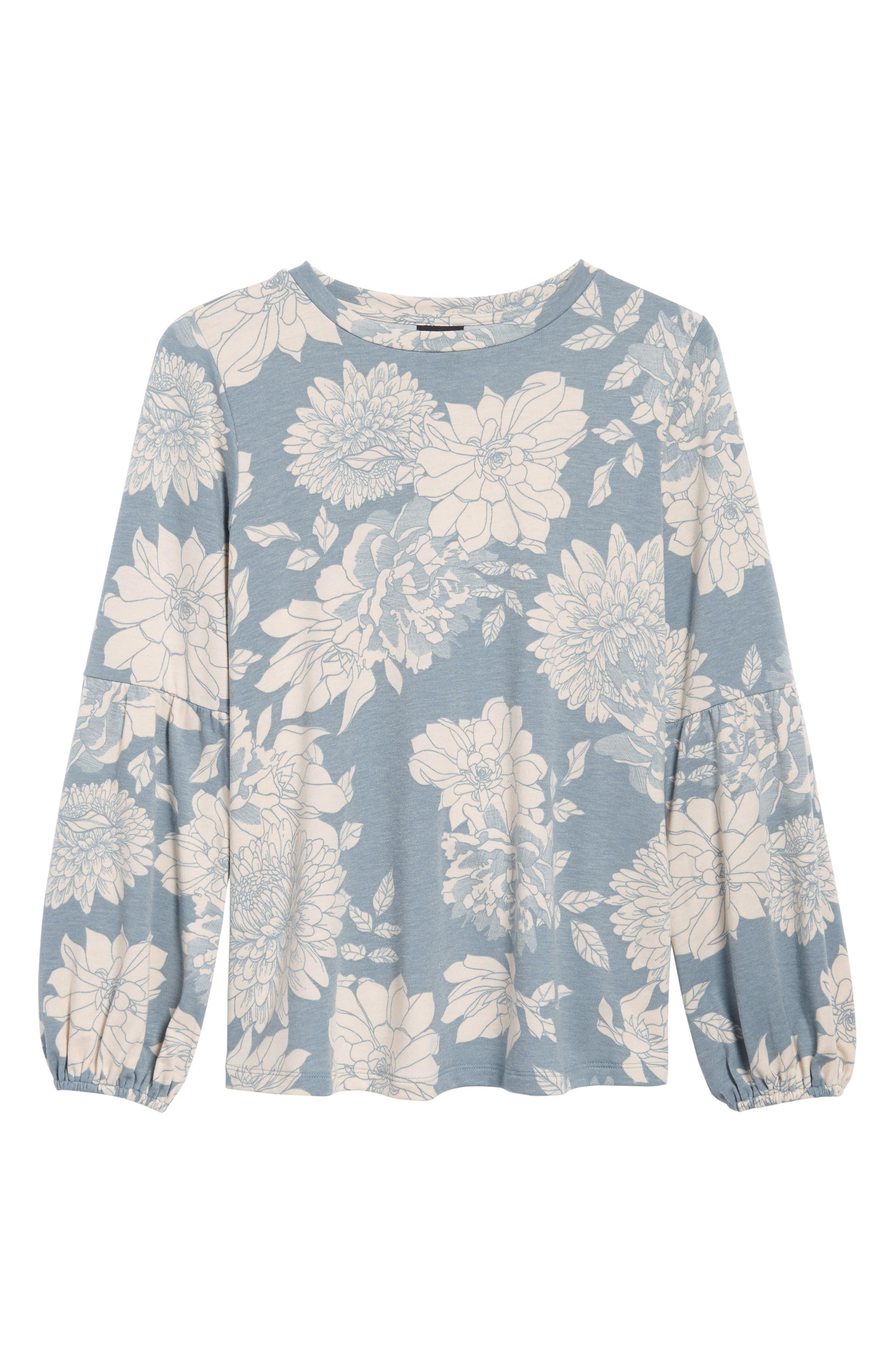 Floral Print Balloon Sleeve Sweatshirt,                             Alternate thumbnail 24, color,