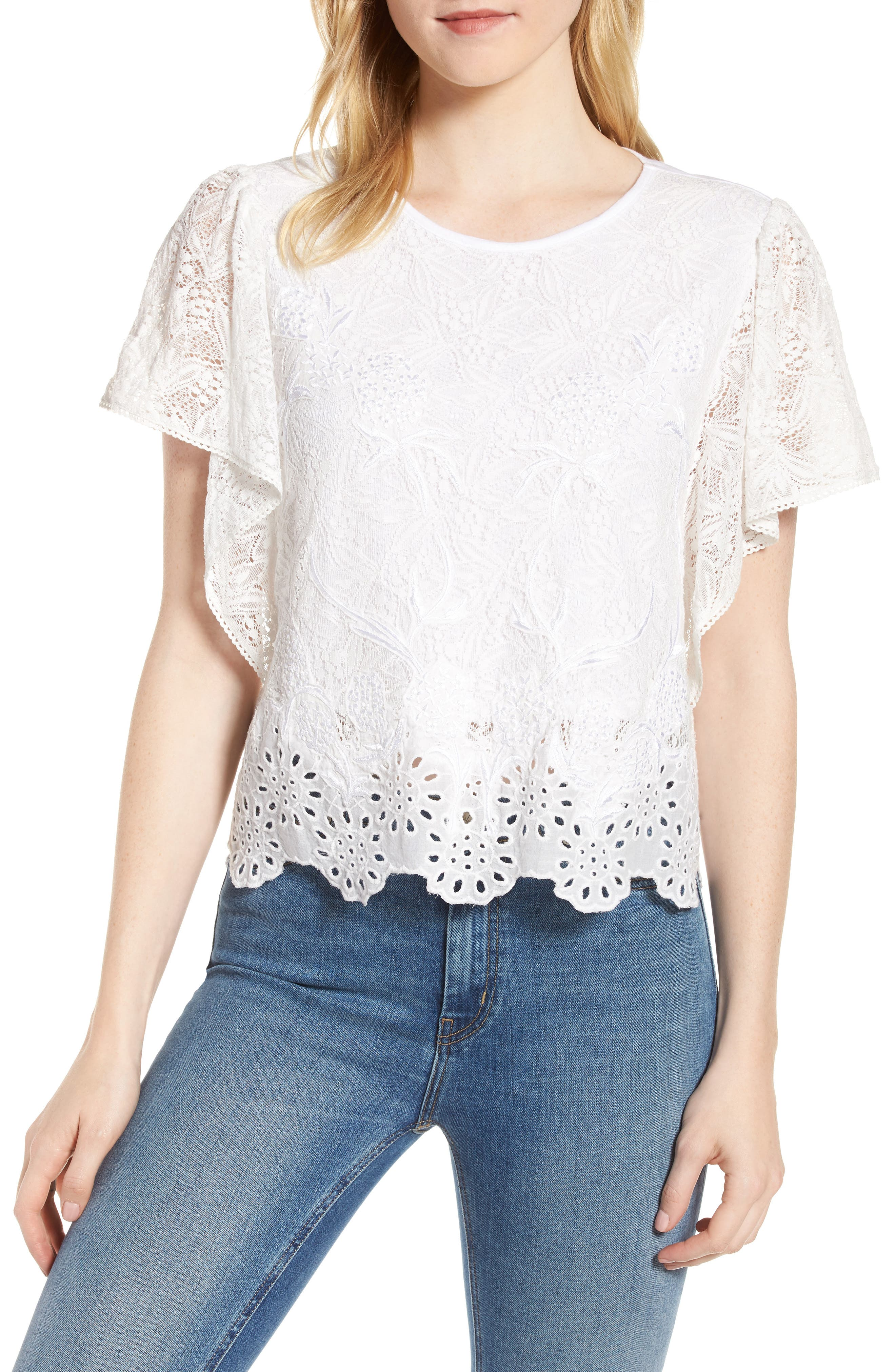 White Eyelet Scallop Mix Media Top,                         Main,                         color, 110