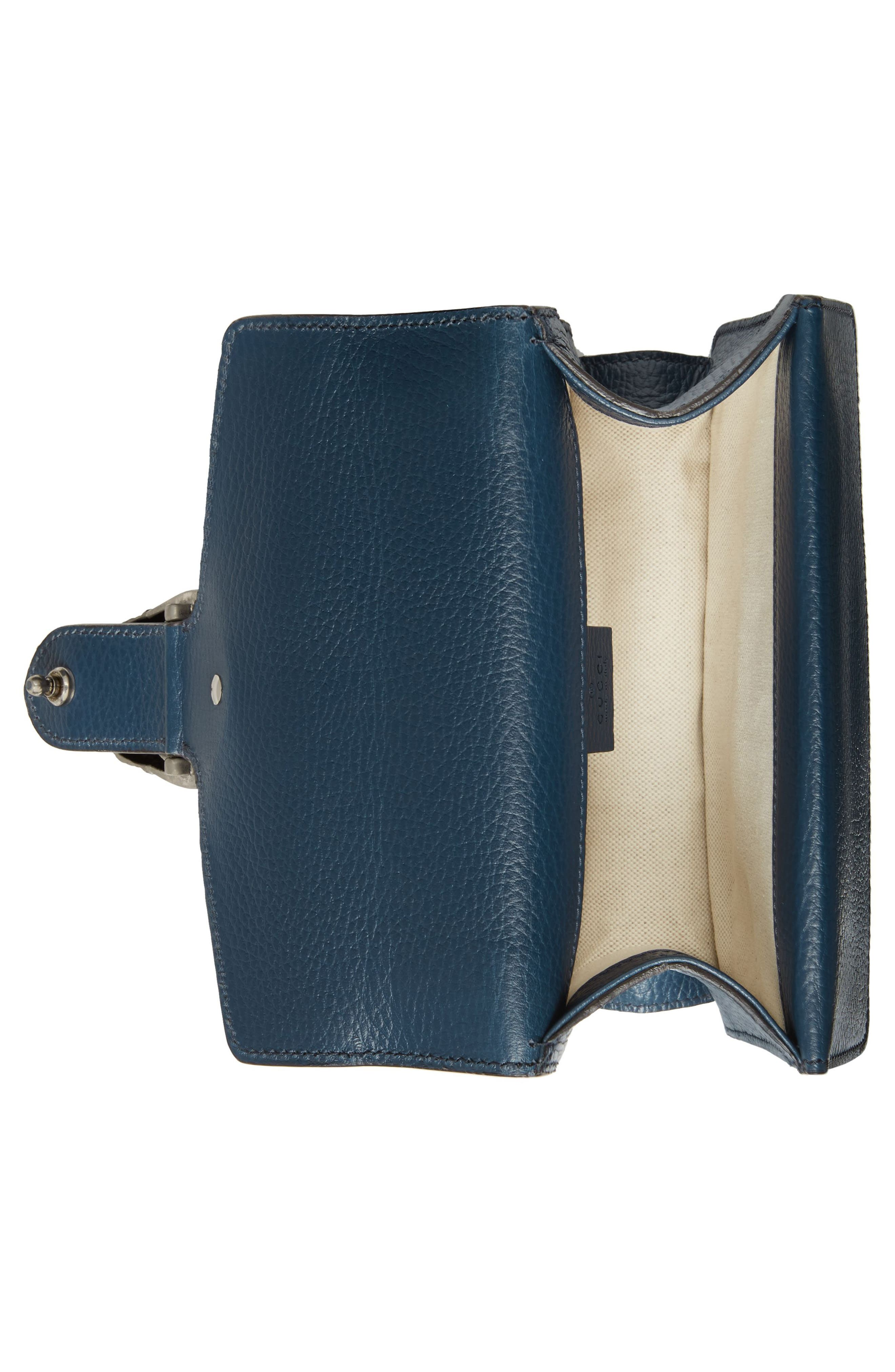 Mini Dionysus Leather Shoulder Bag,                             Alternate thumbnail 3, color,                             BLU AGATA/ MONTANA