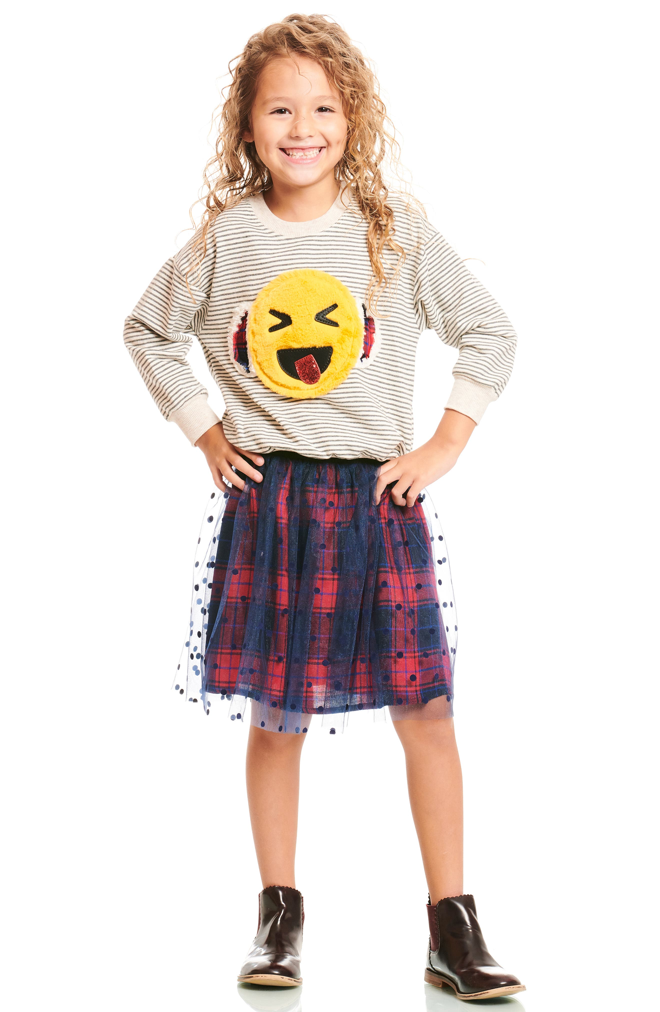 Polka Dot Plaid Tutu Skirt,                             Alternate thumbnail 4, color,                             418