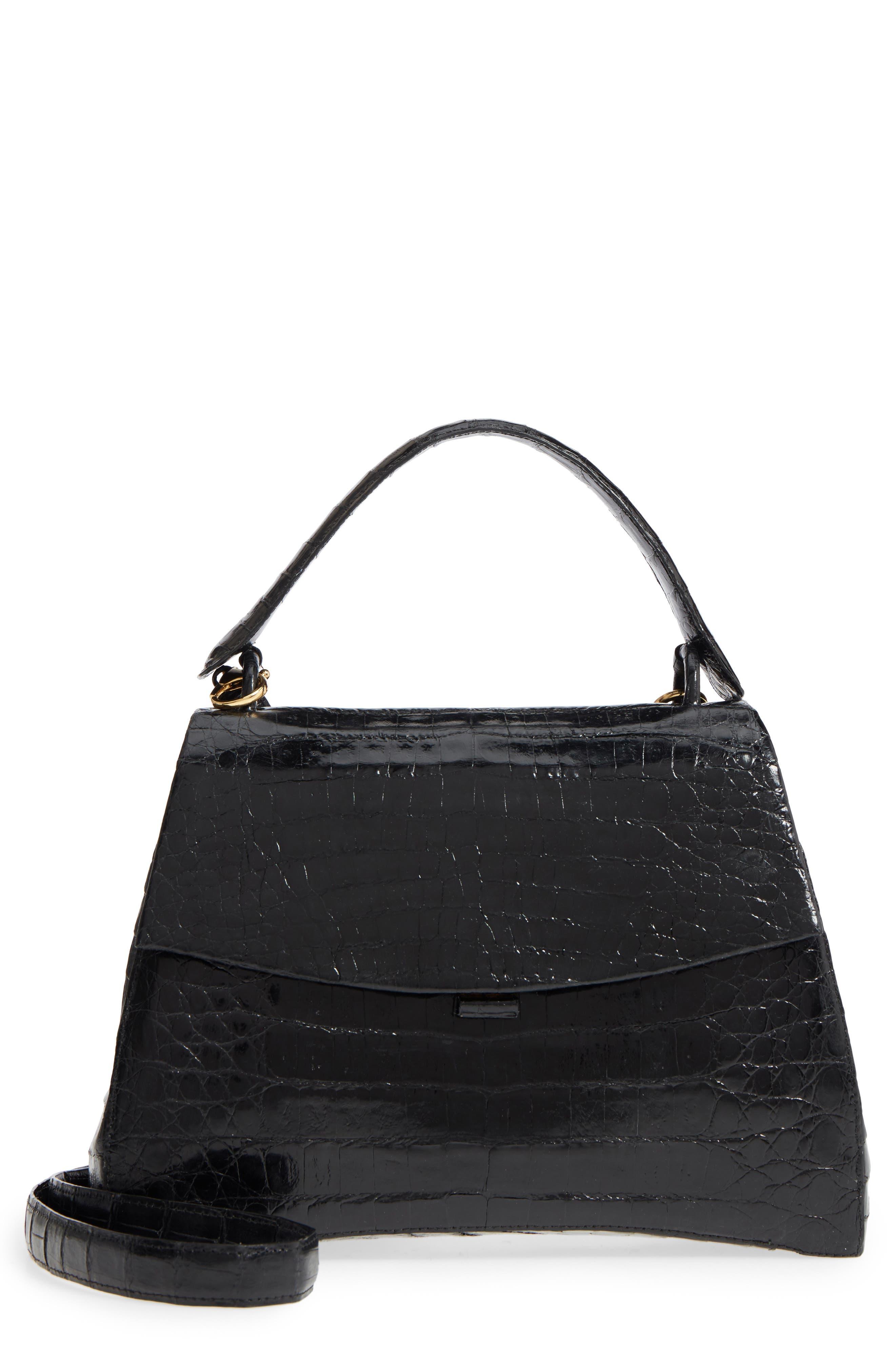 Genuine Crocodile Top Handle Bag,                         Main,                         color, BLACK