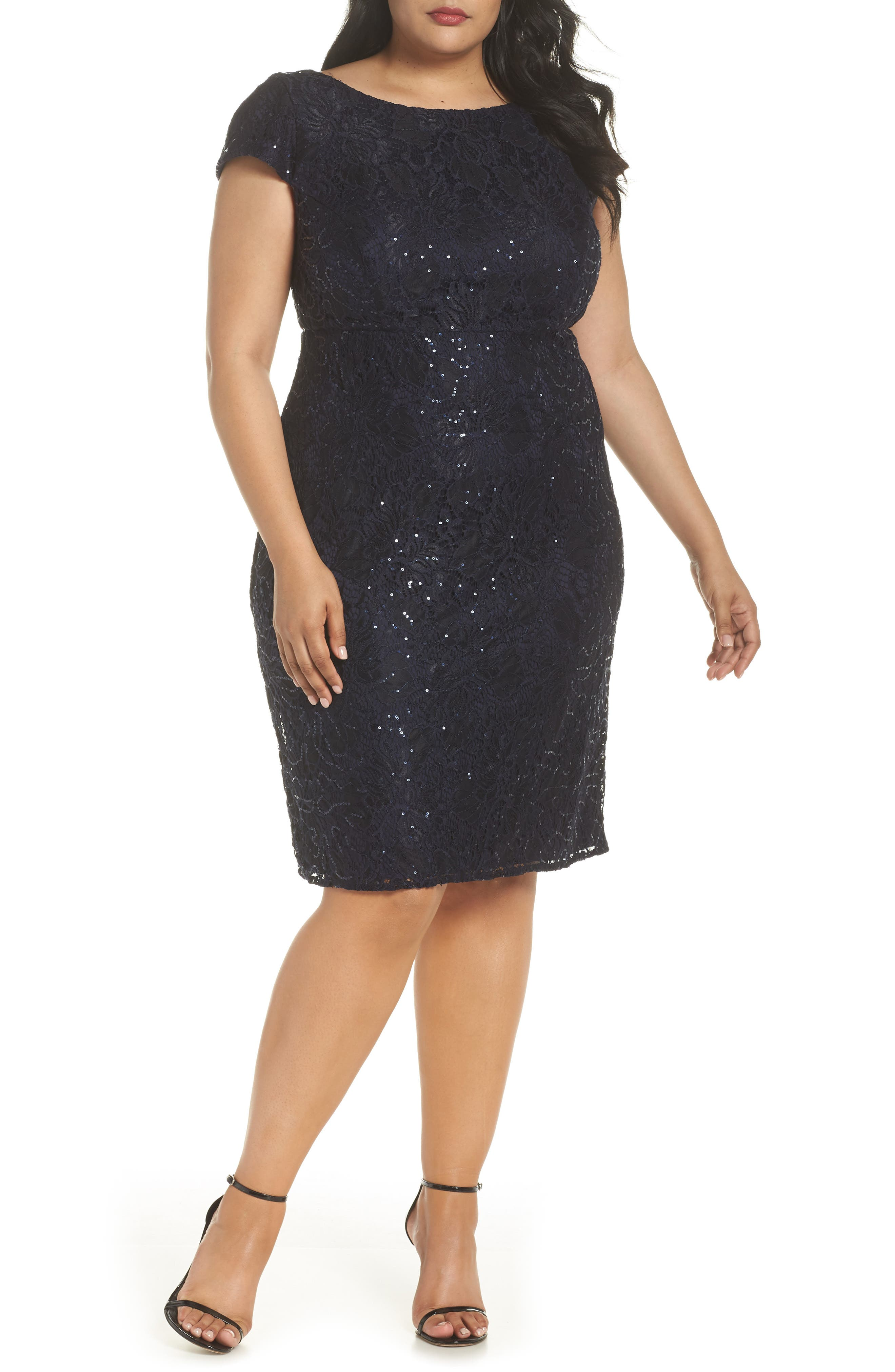 Lace Party Dress, Main, color, NAVY