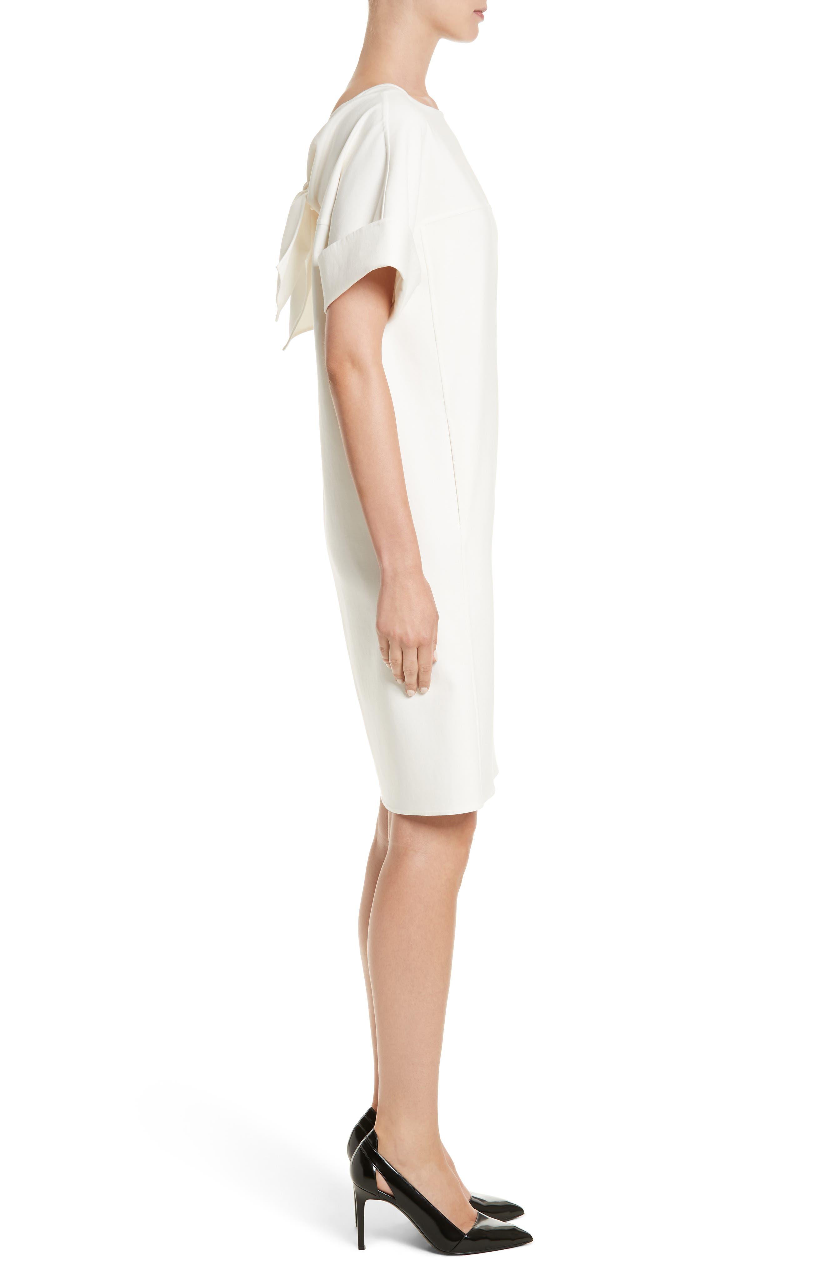 Double Face Stretch Cotton Back Tie Dress,                             Alternate thumbnail 3, color,                             900