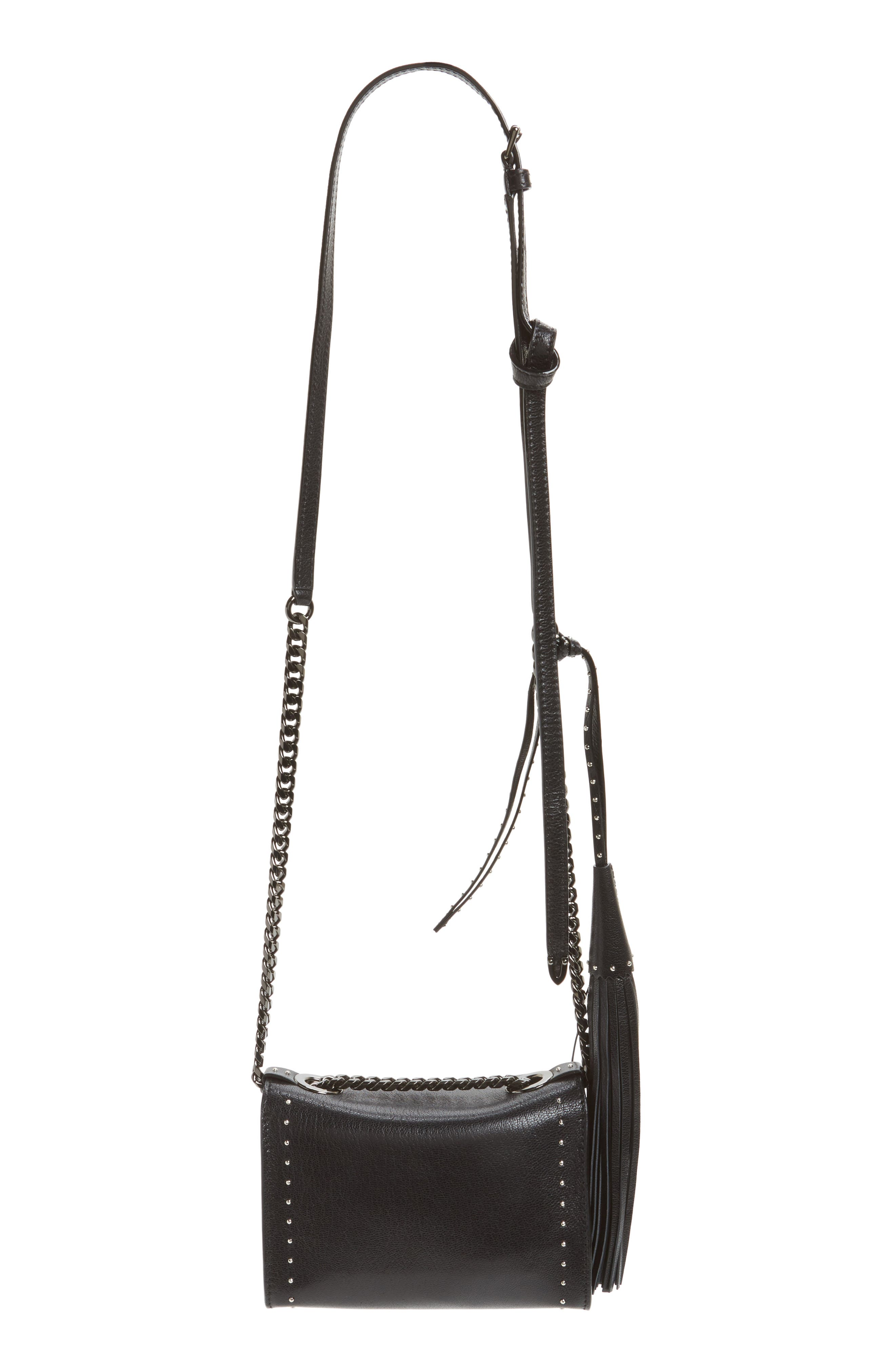 Mini Rebel Studded Leather Shoulder Bag,                             Alternate thumbnail 3, color,                             001