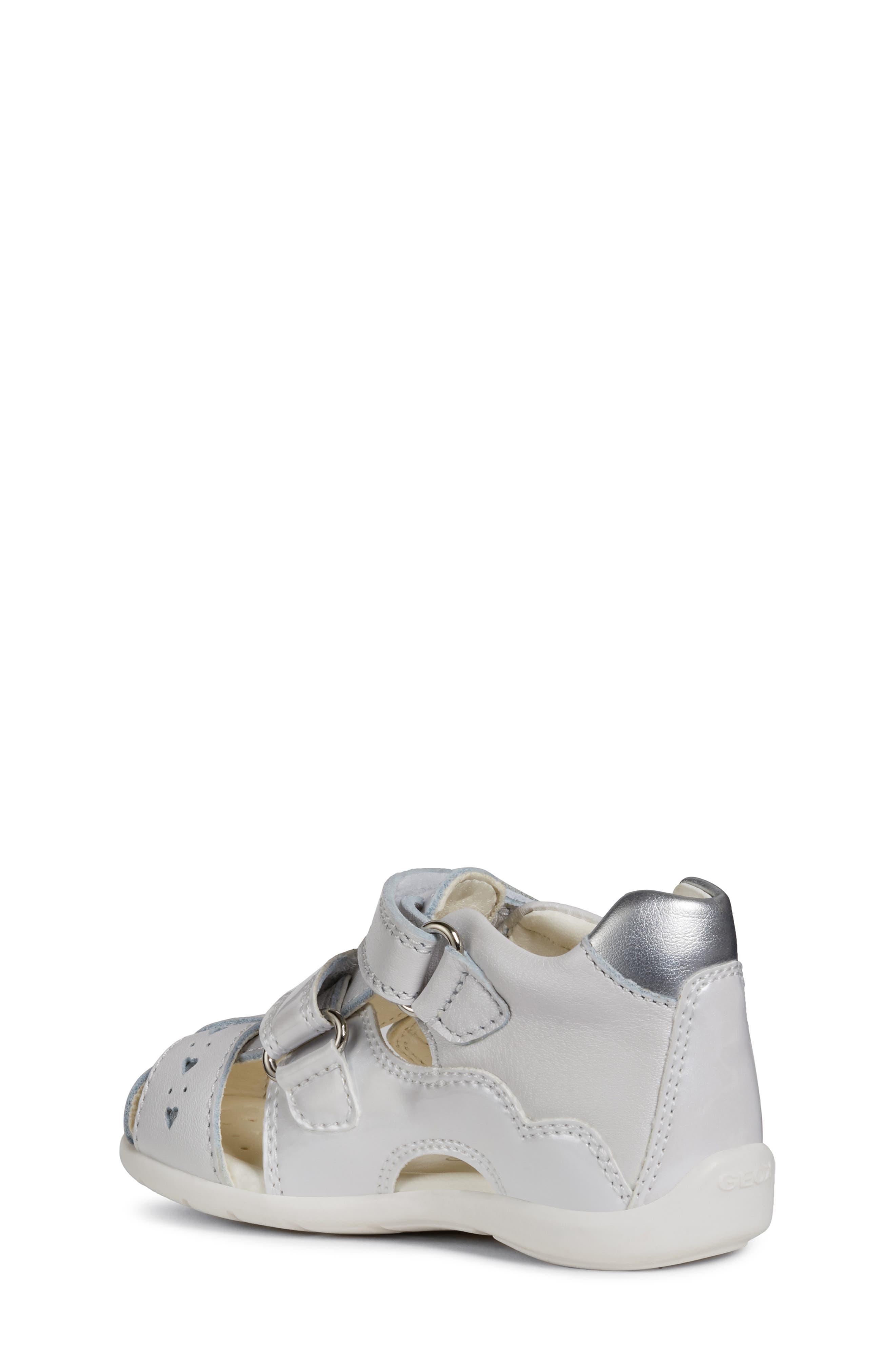 GEOX,                             Kaytan 52 Shimmery Sandal,                             Alternate thumbnail 2, color,                             WHITE/ SILVER