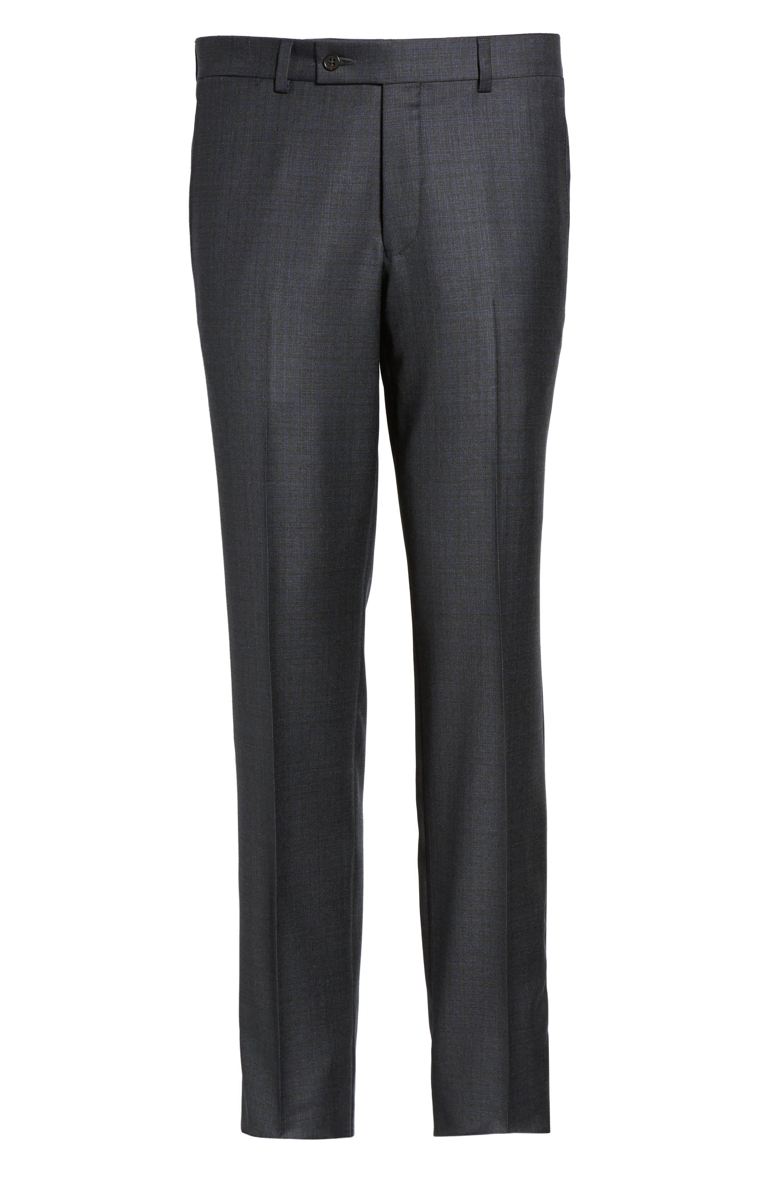Jefferson Flat Front Solid Wool Trousers,                             Alternate thumbnail 6, color,                             020