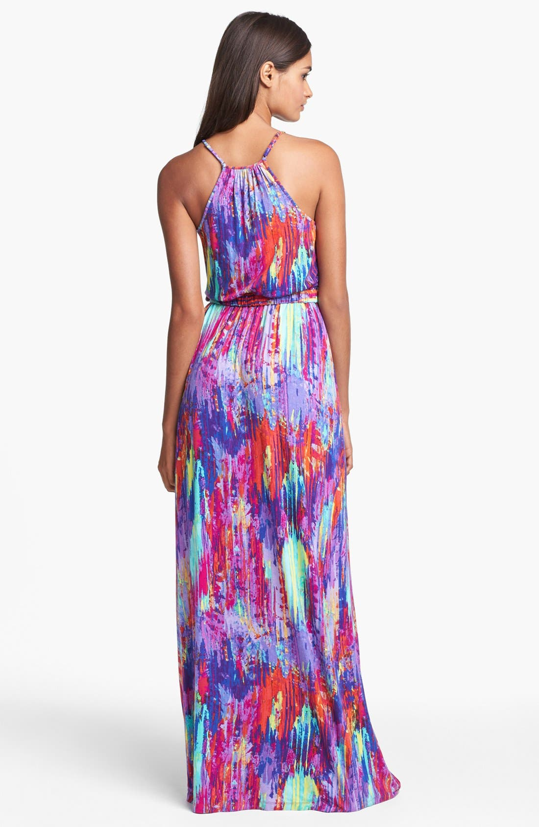 Print Jersey Maxi Dress,                             Alternate thumbnail 4, color,                             667