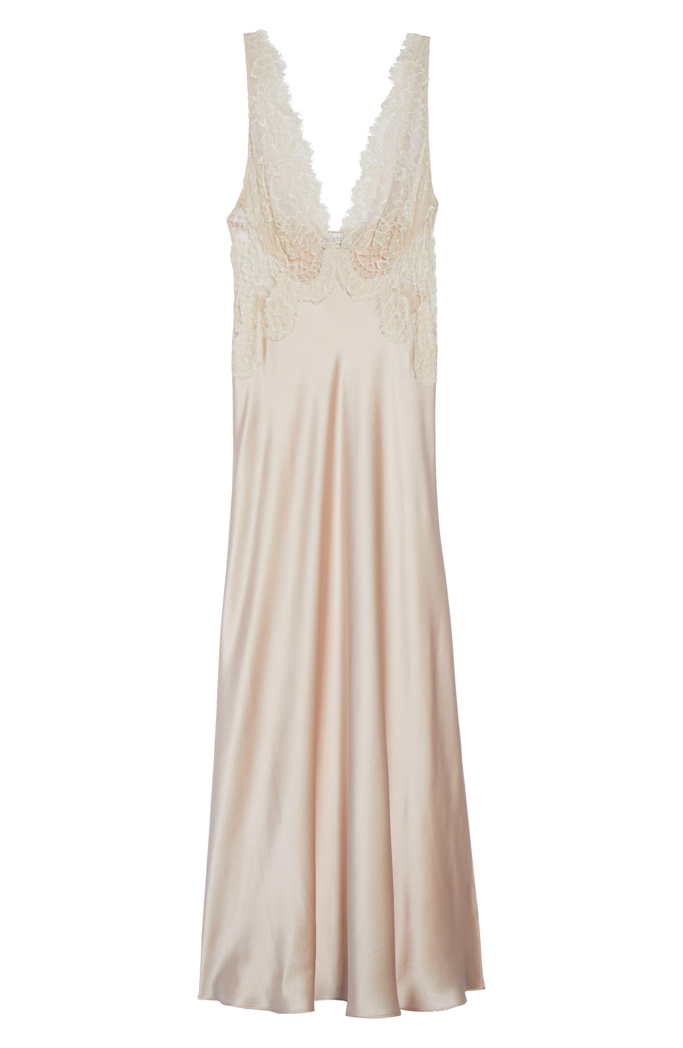 Lace Trim Silk Nightgown,                             Alternate thumbnail 6, color,                             650