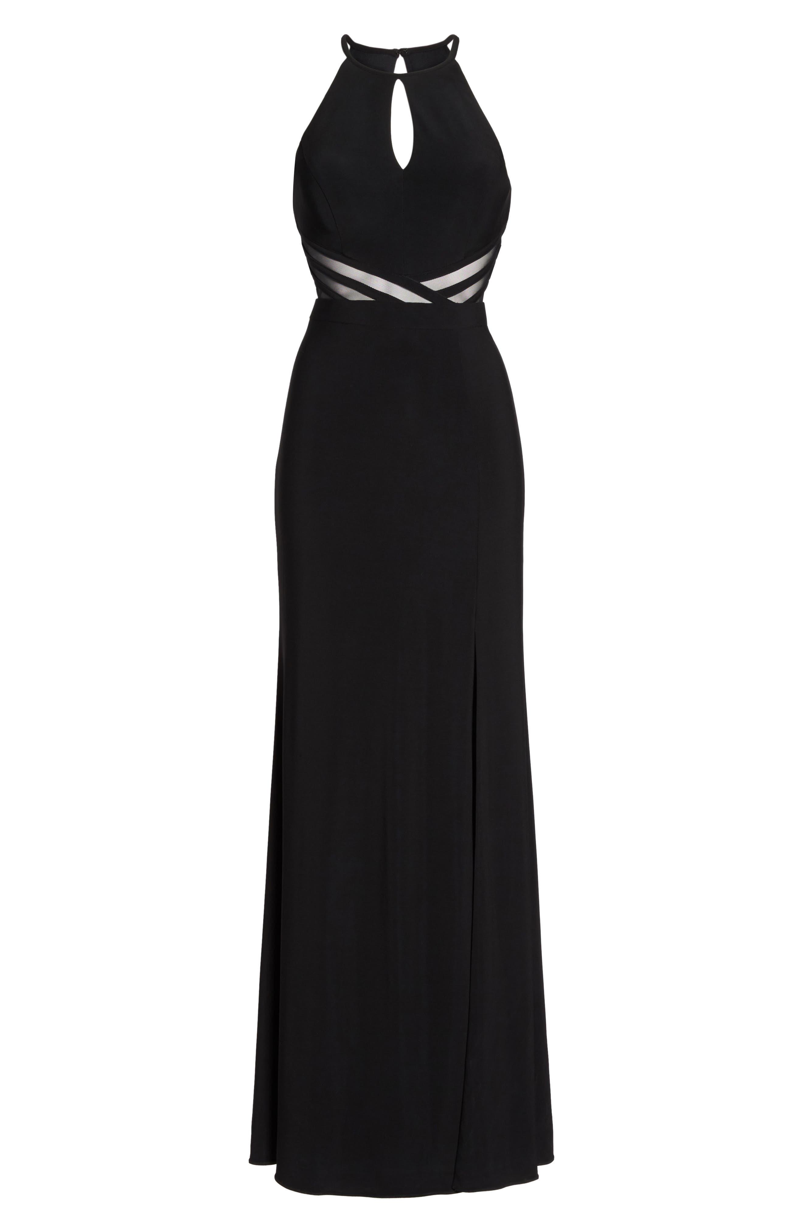 Illusion Waist Jersey Halter Dress,                             Alternate thumbnail 6, color,                             001