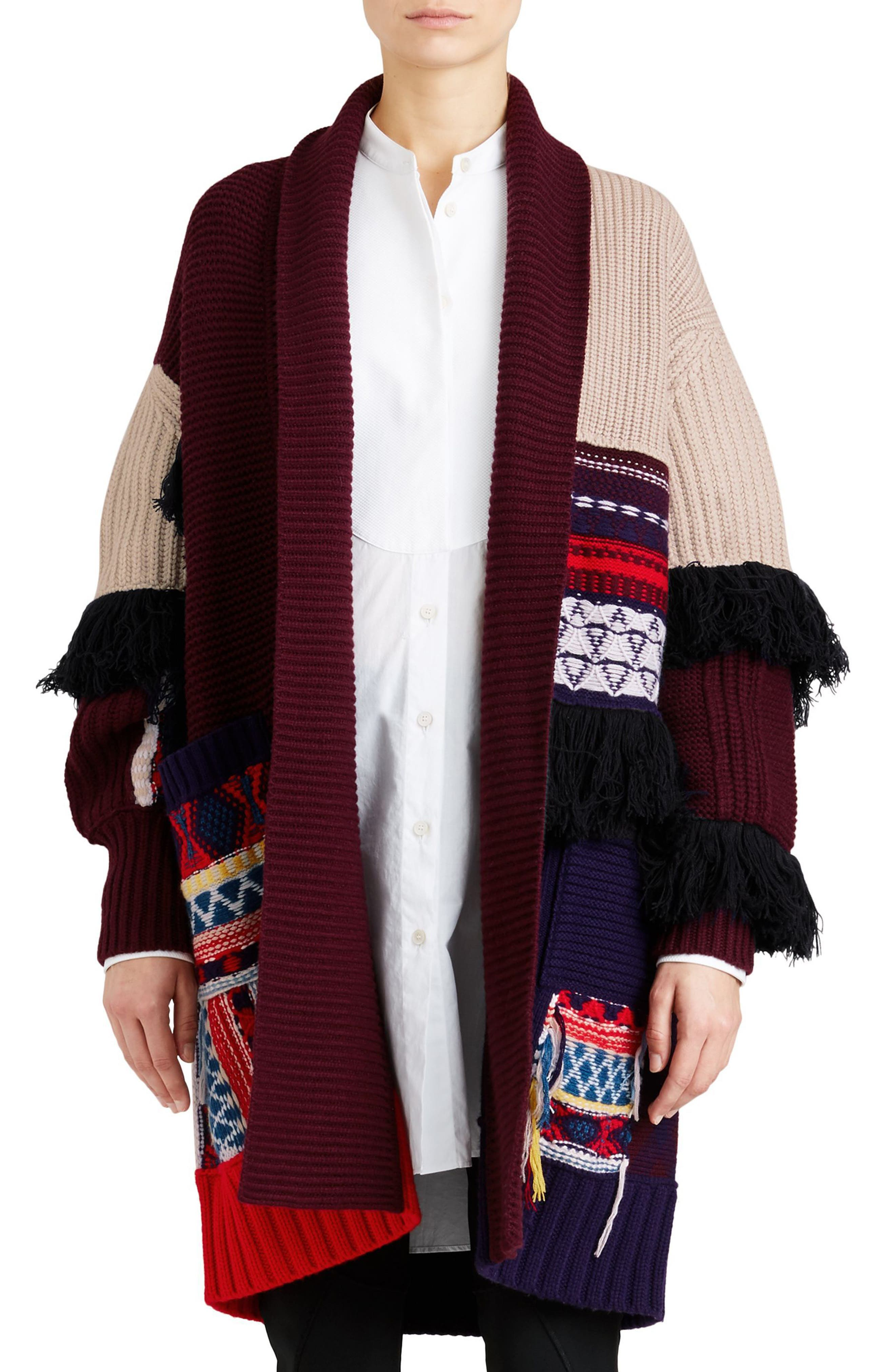 Rotaldo Wool & Cashmere Patchwork Cardigan,                             Main thumbnail 1, color,                             103