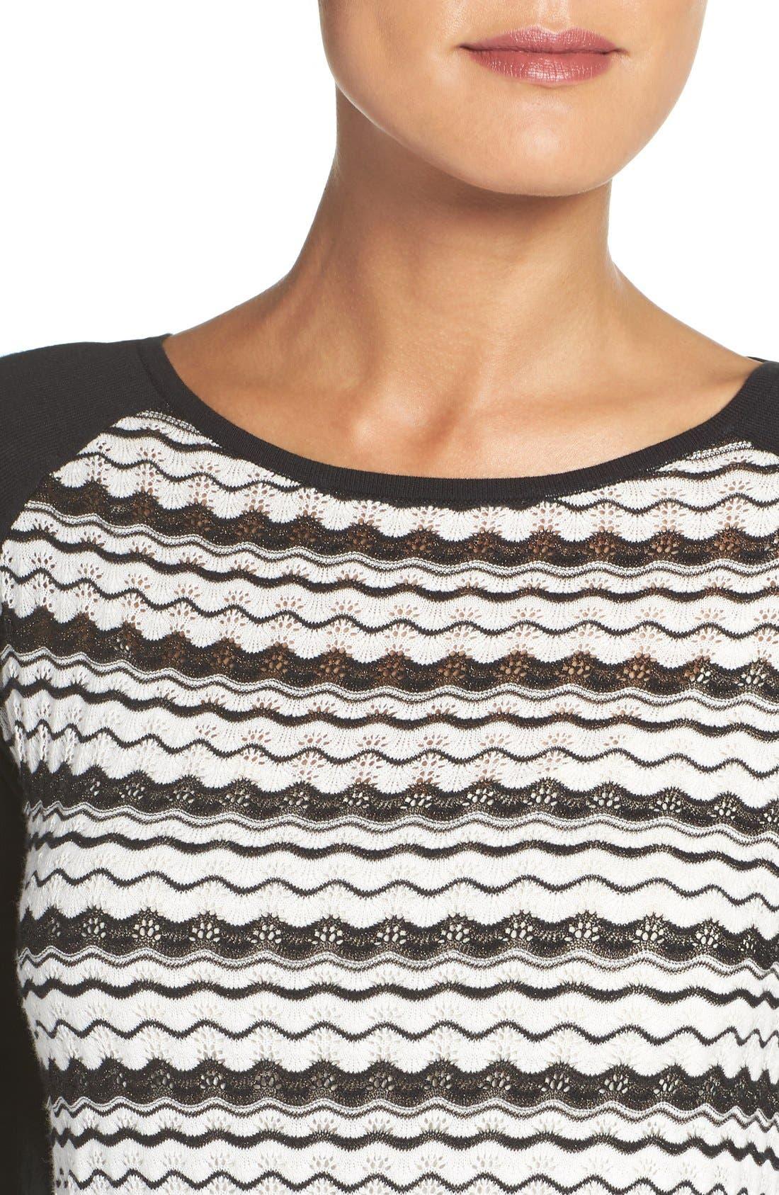 'Zeal' Pointelle Sweater Dress,                             Alternate thumbnail 5, color,                             001
