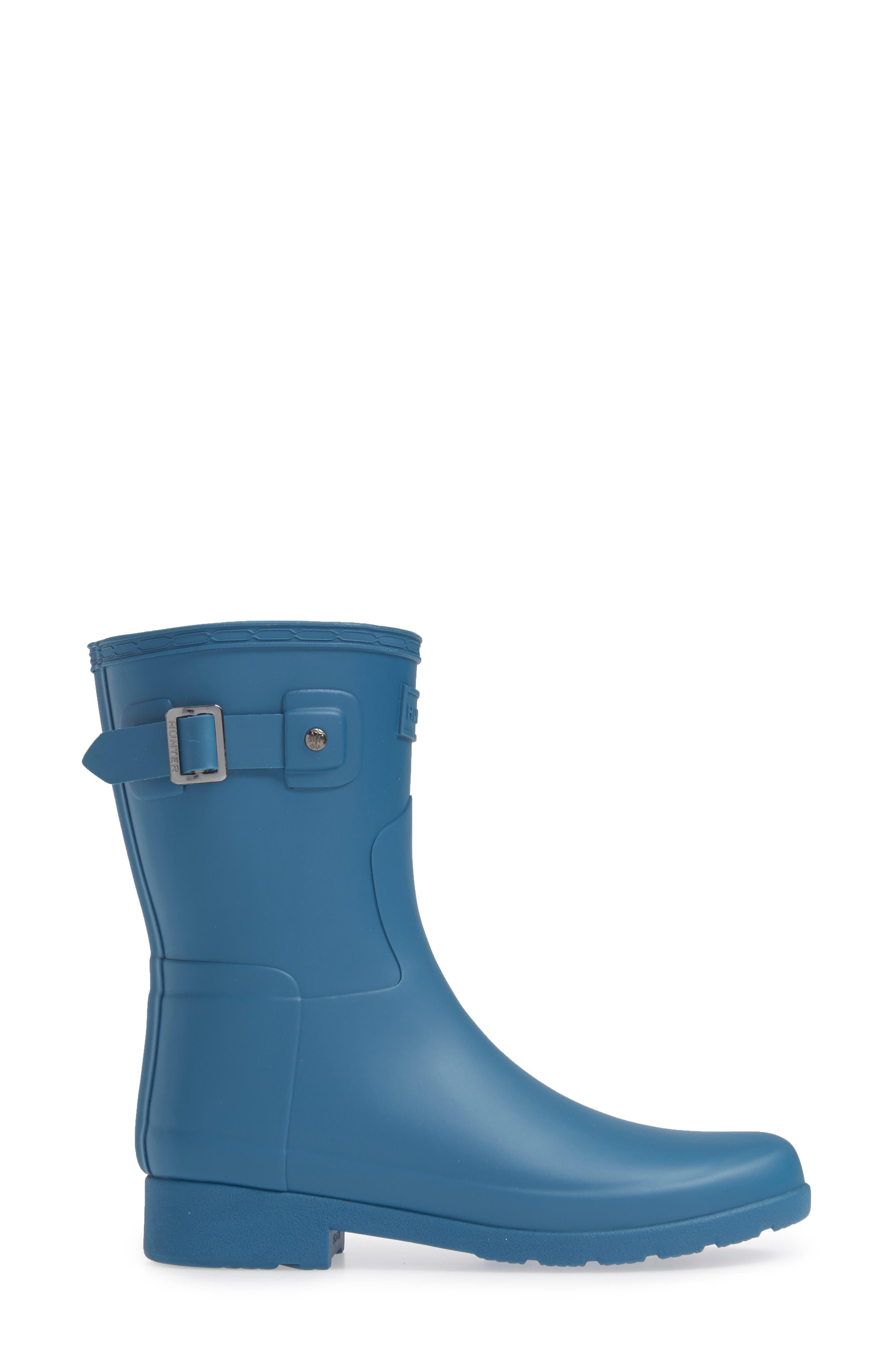 HUNTER,                             Original Refined Short Waterproof Rain Boot,                             Alternate thumbnail 3, color,                             440