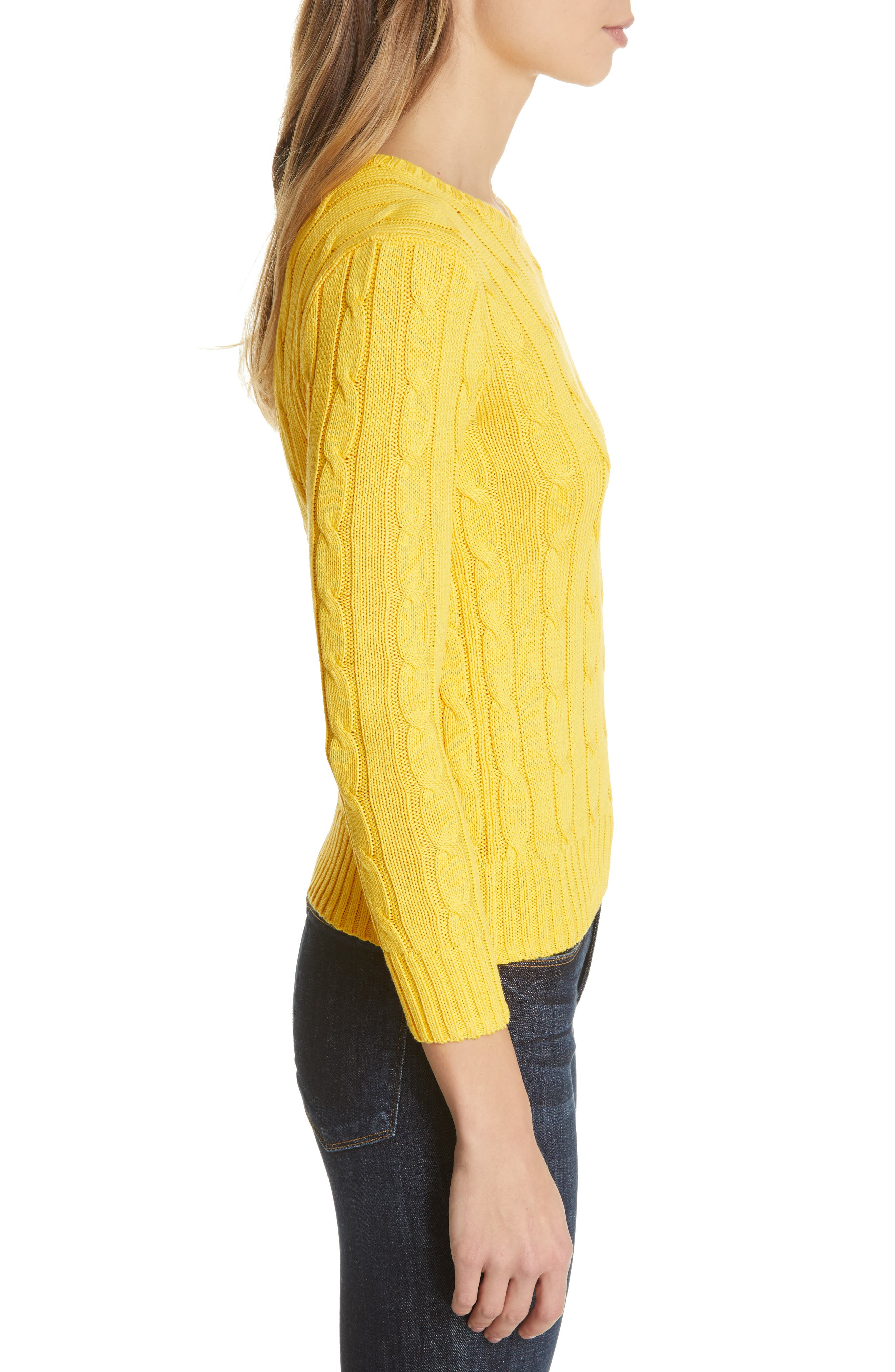 Cable Knit Cotton Sweater,                             Alternate thumbnail 3, color,                             GOLD
